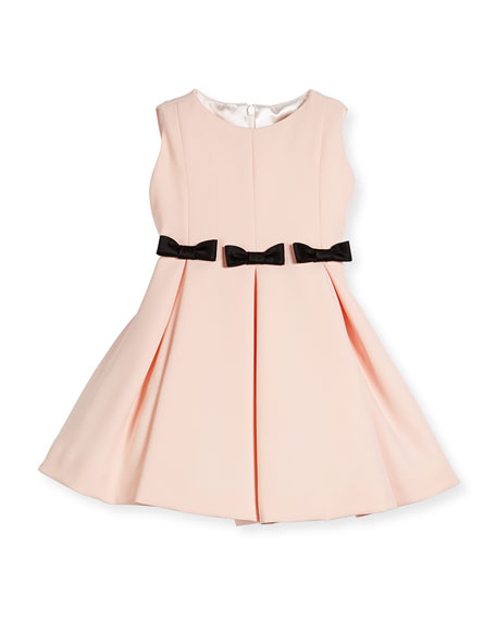 pink flower girl dress black bows