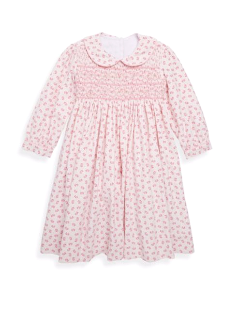 pink collared flower girl dress