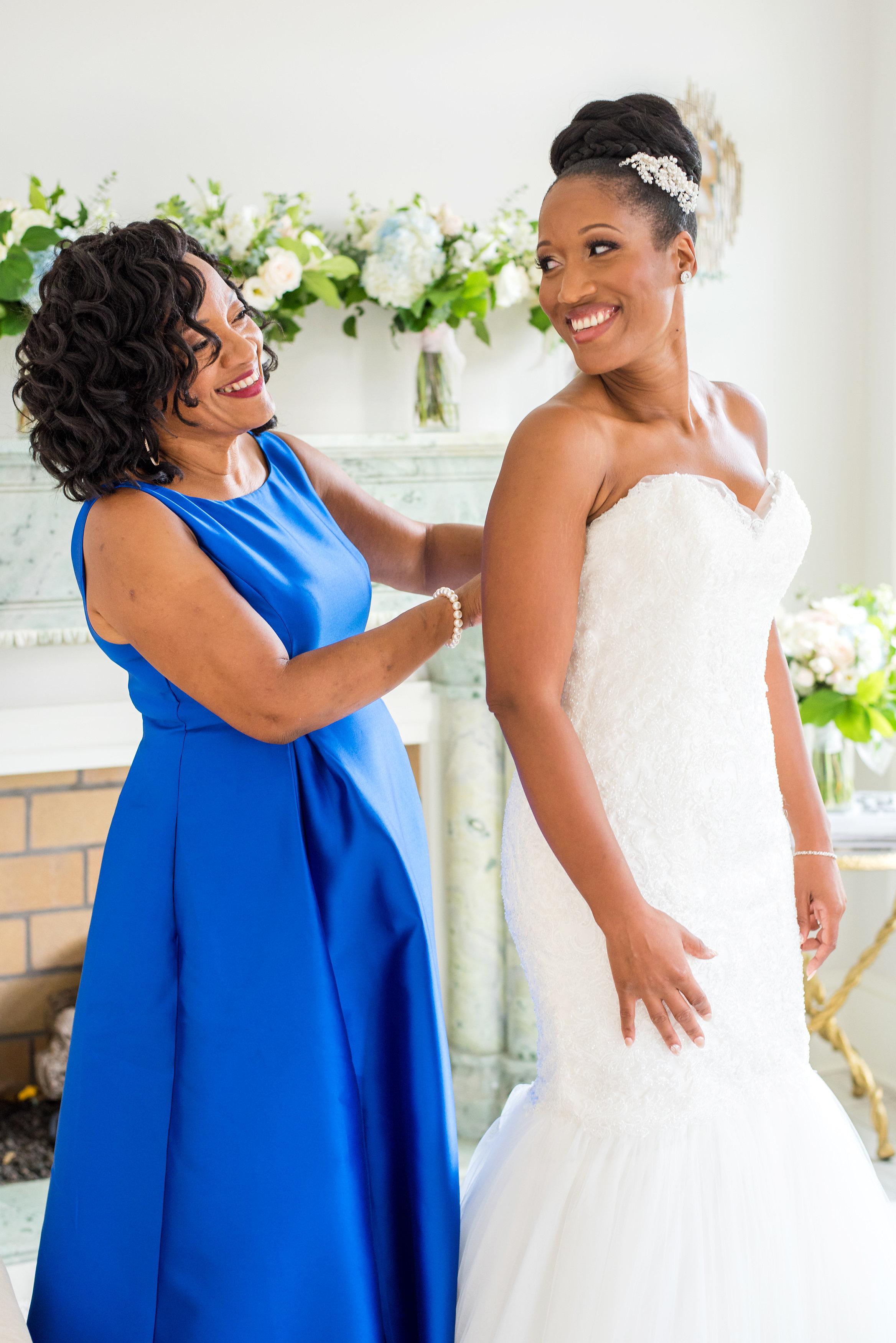 kenisha wendall wedding bride getting ready with mom blue dress