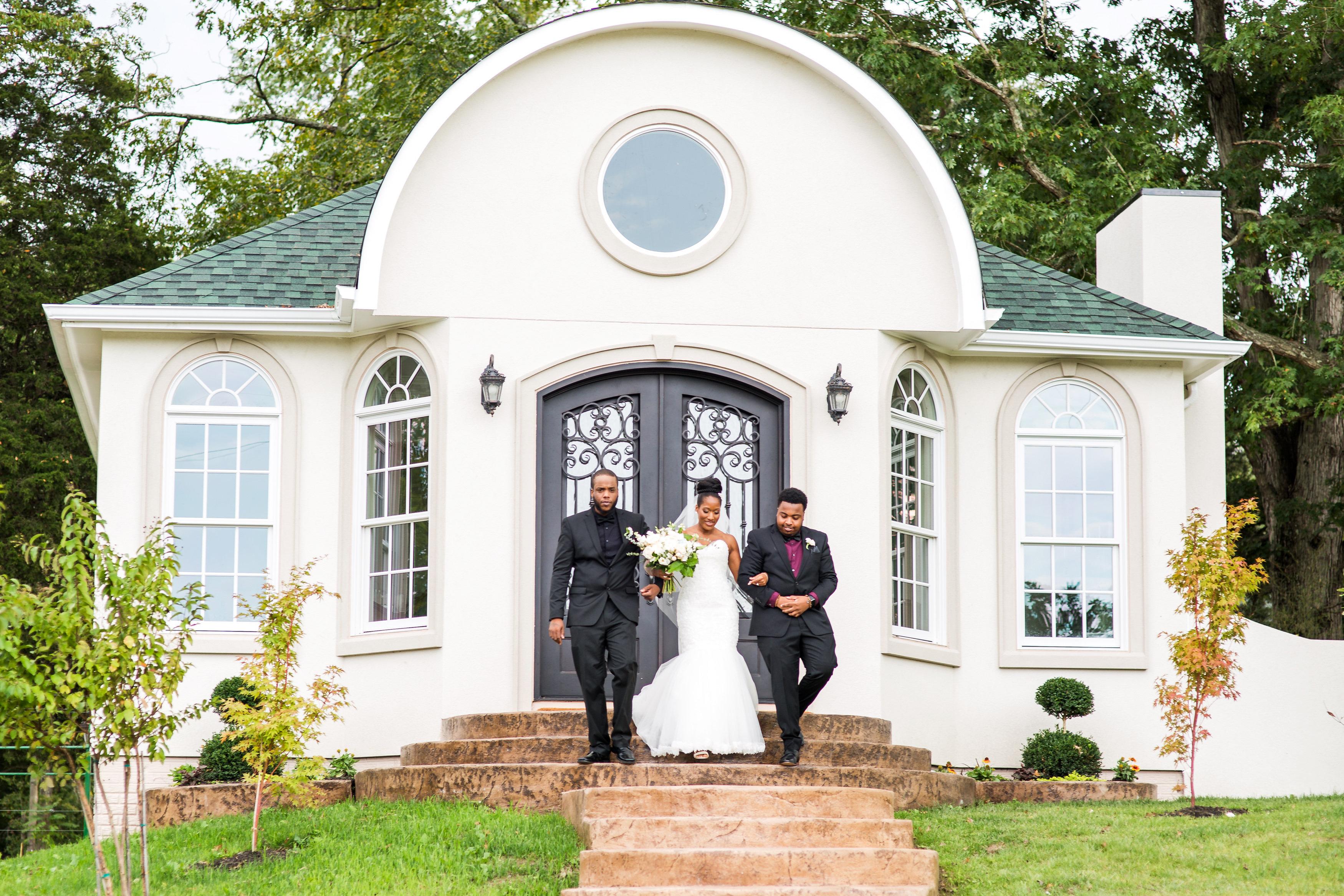 kenisha wendall wedding ceremony entrance stairs