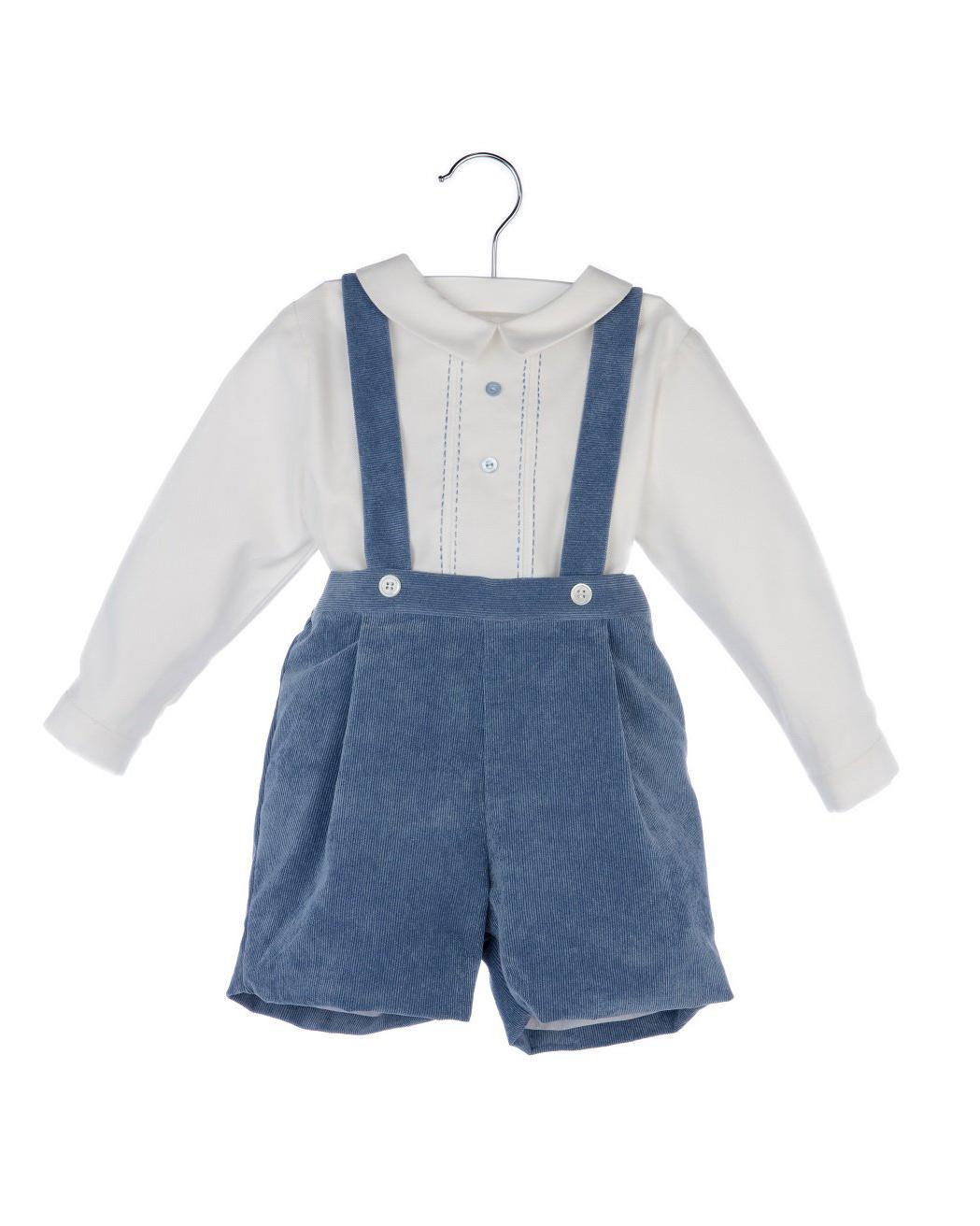 Blue Corduroy Suspender Pants Set