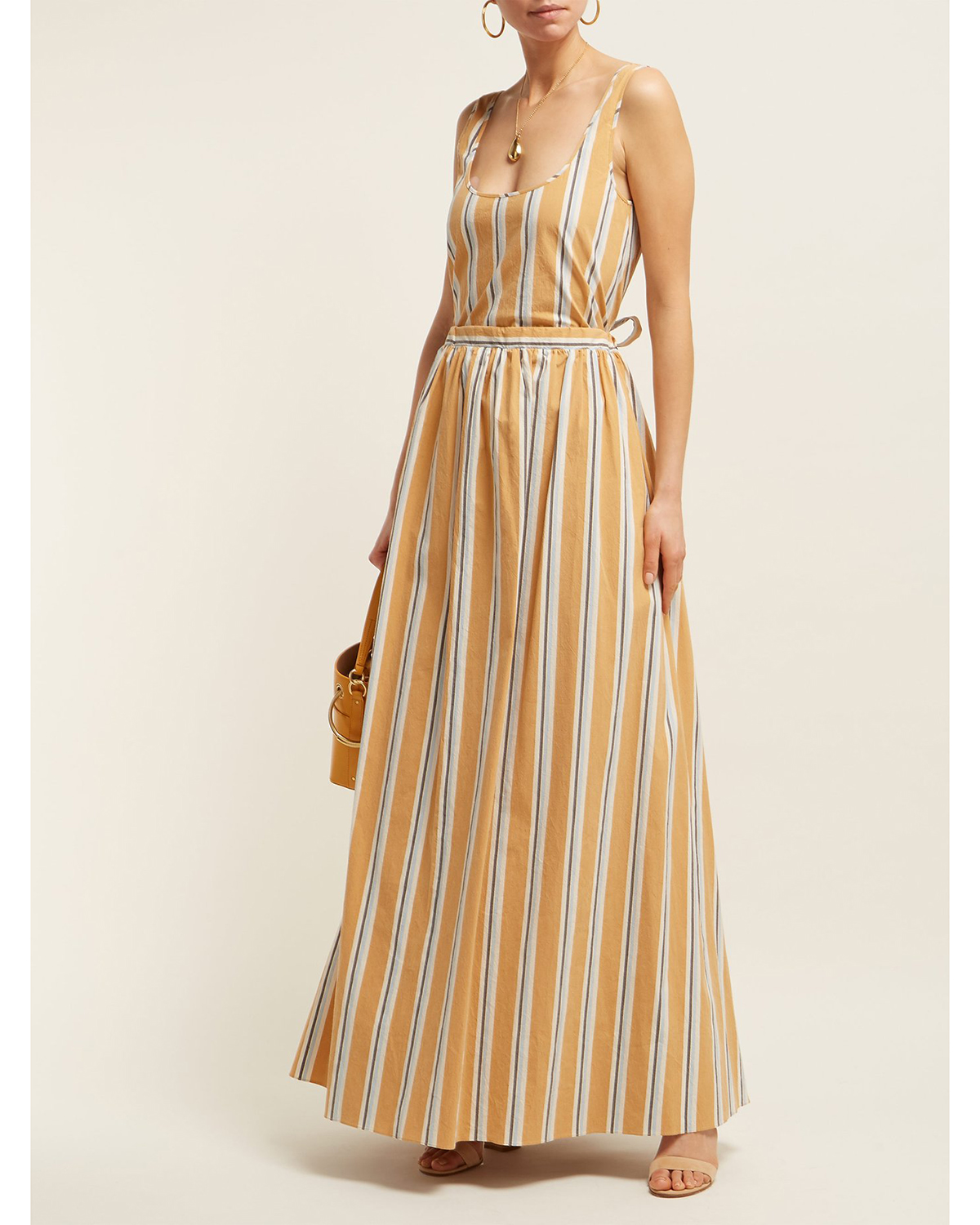 floor length striped yellow dress