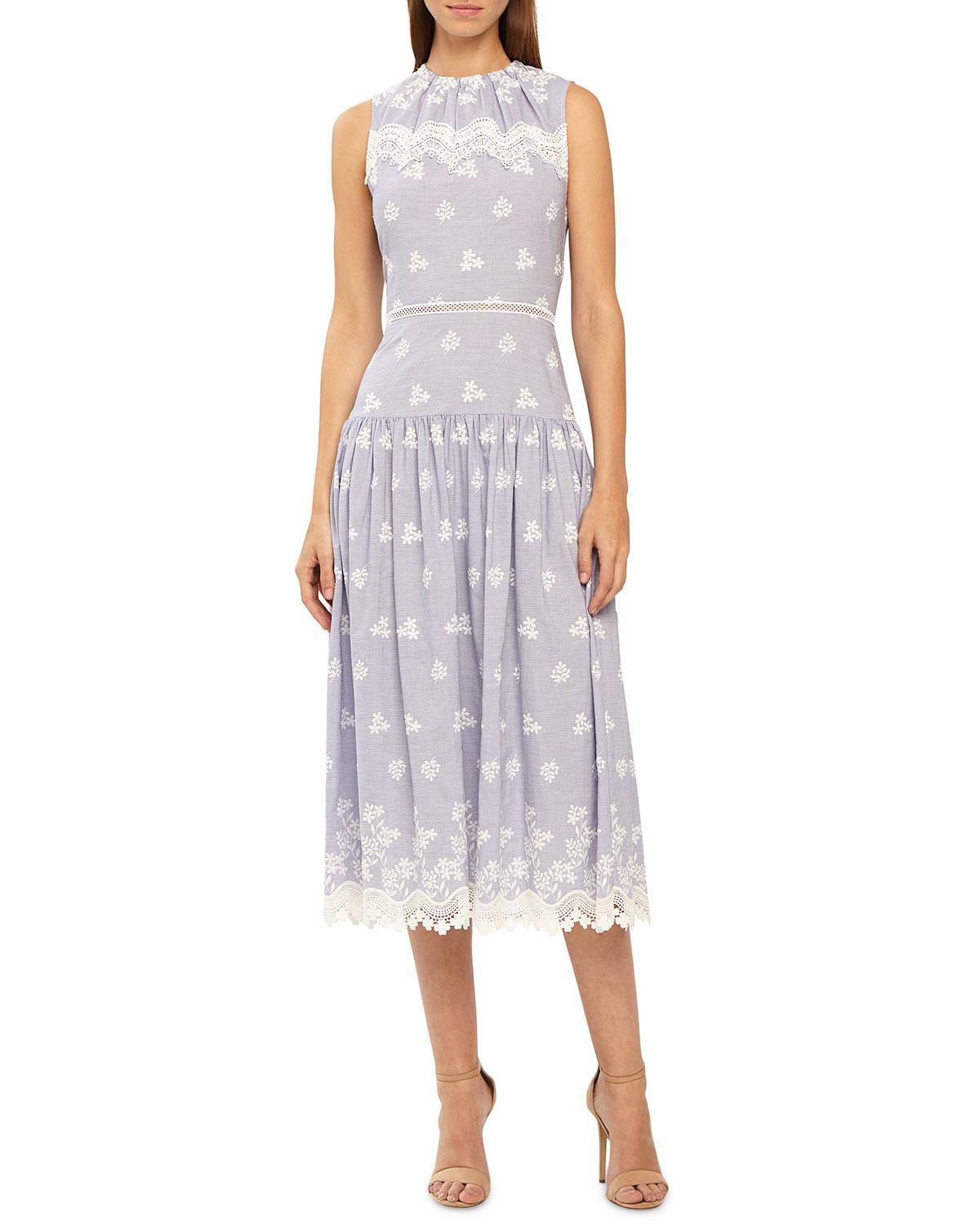 lilac with white embroidery drop waist midi dress