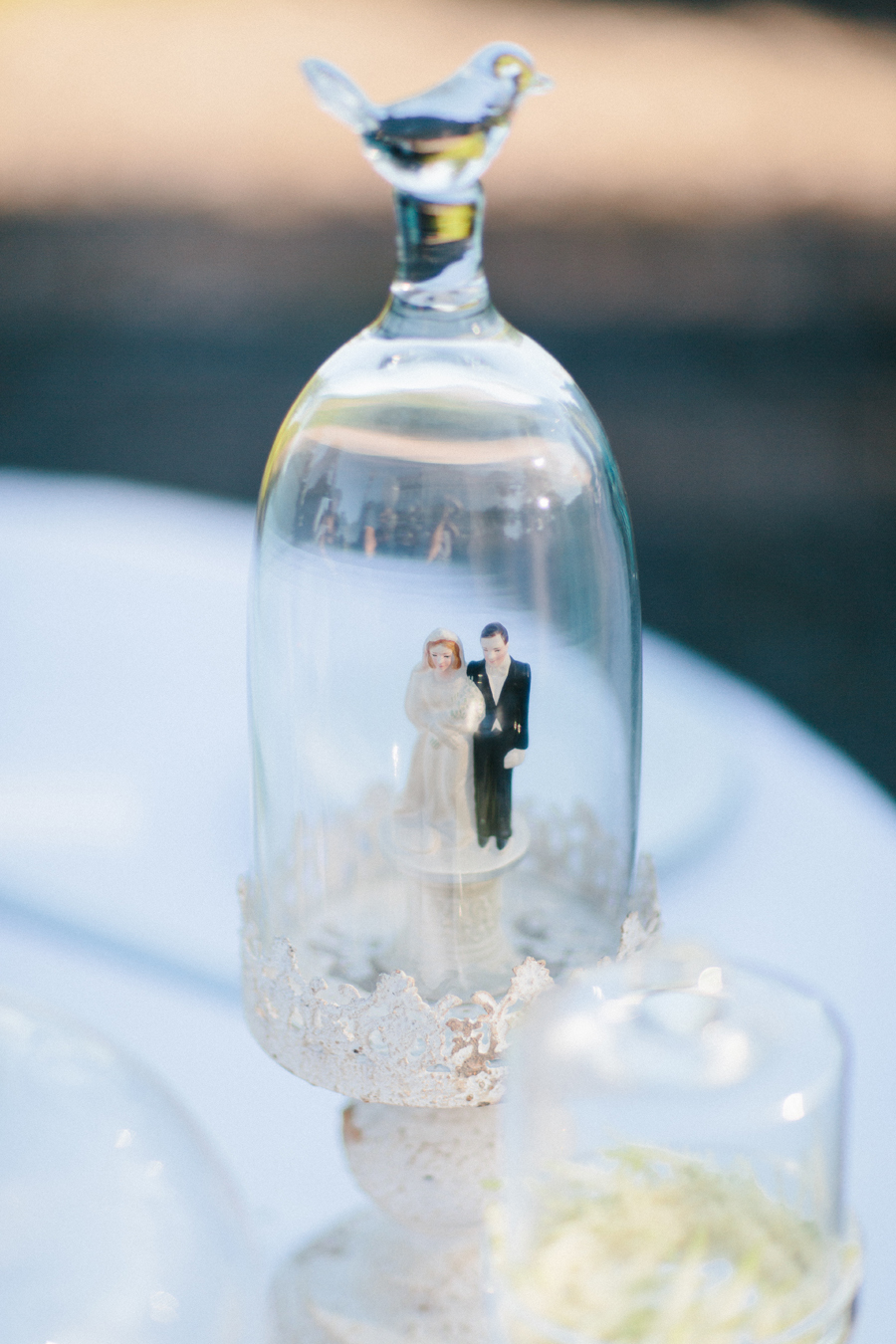 cloche wedding cake topper