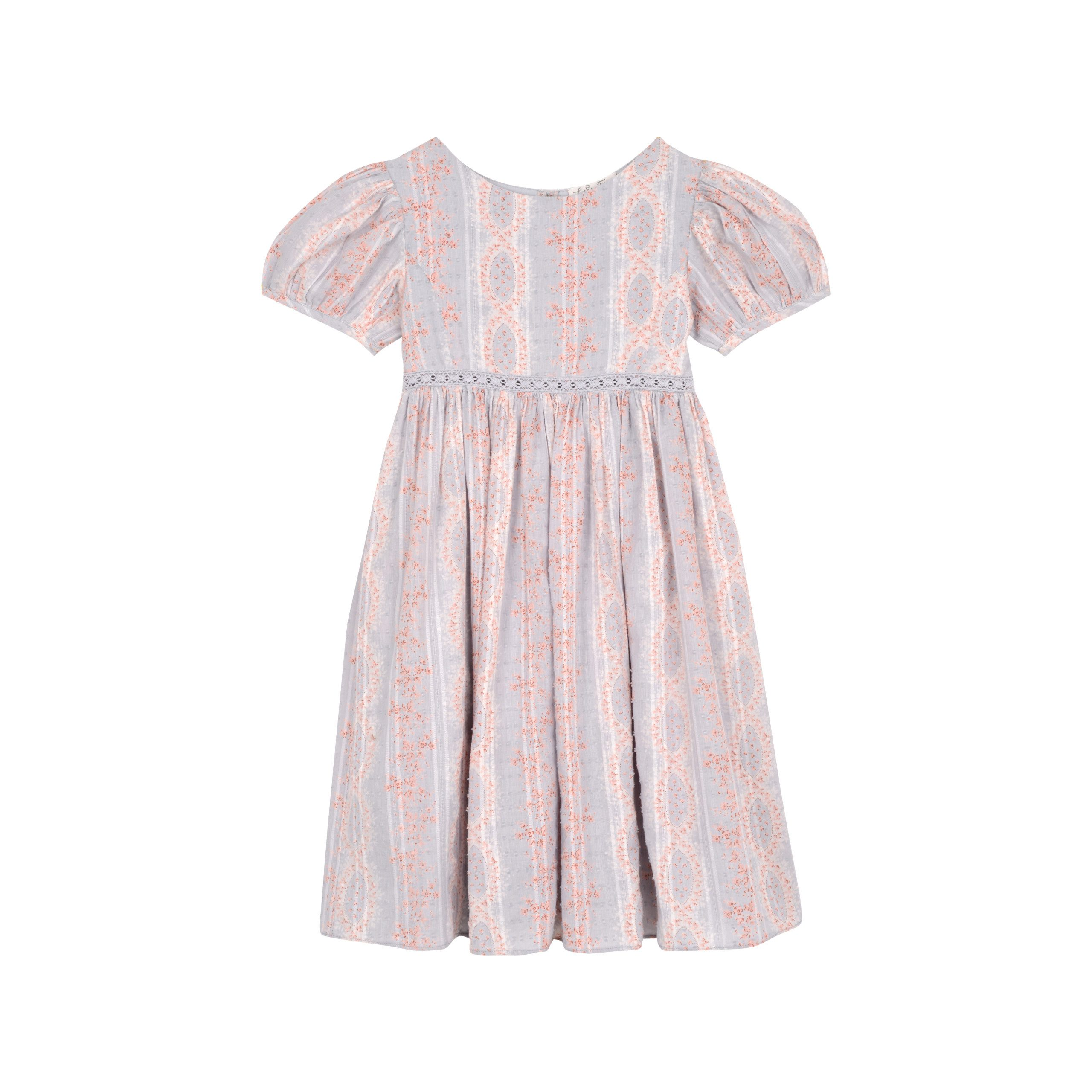 puff capped sleeve printed spring flower girl dress