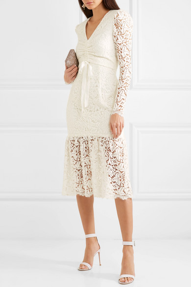 cream lace engagement party dress