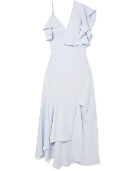 adeam asymmetric ruffled midi dress