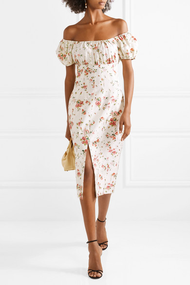 off the shoulder floral engagement party dress