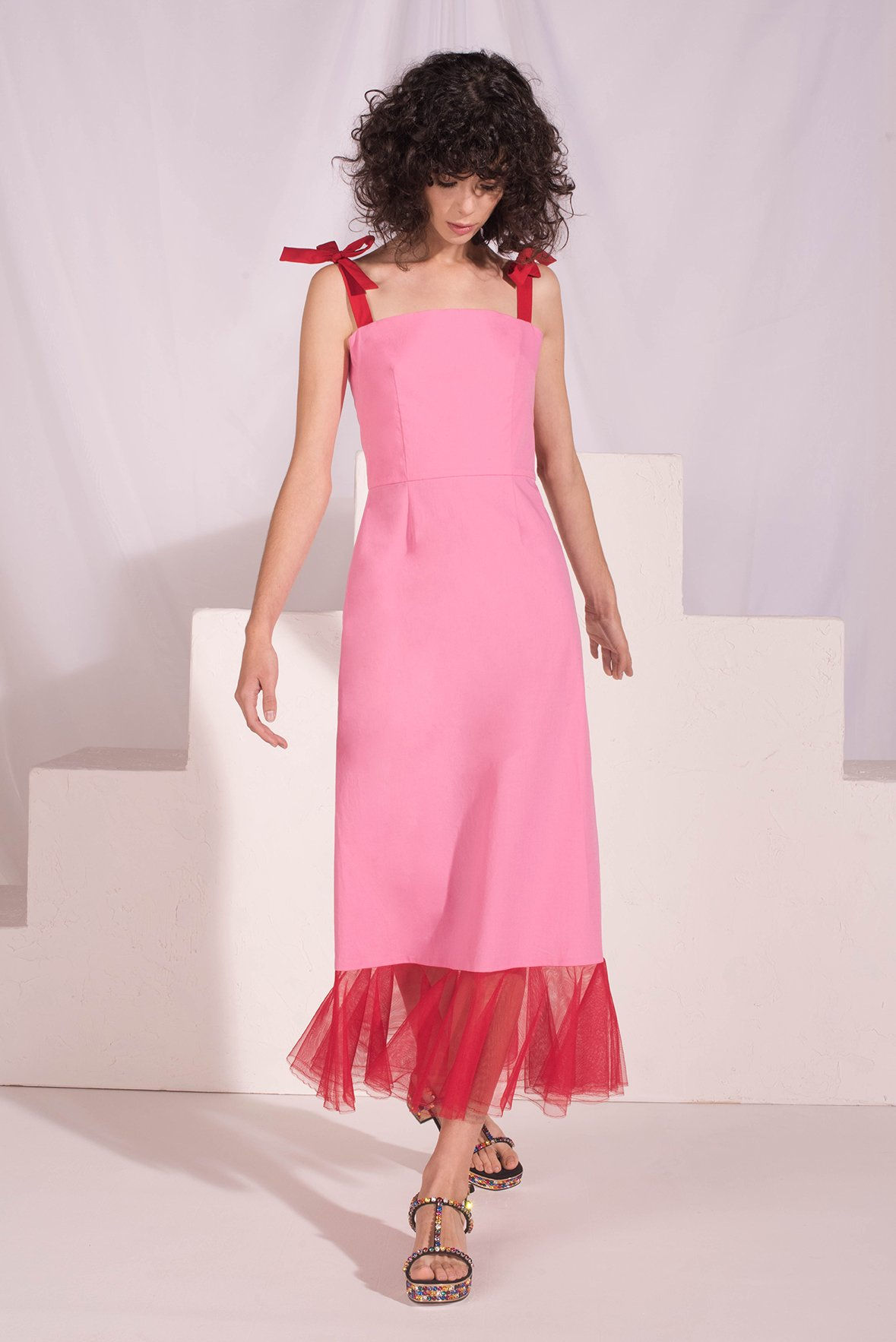 pink and red mini engagement party dress