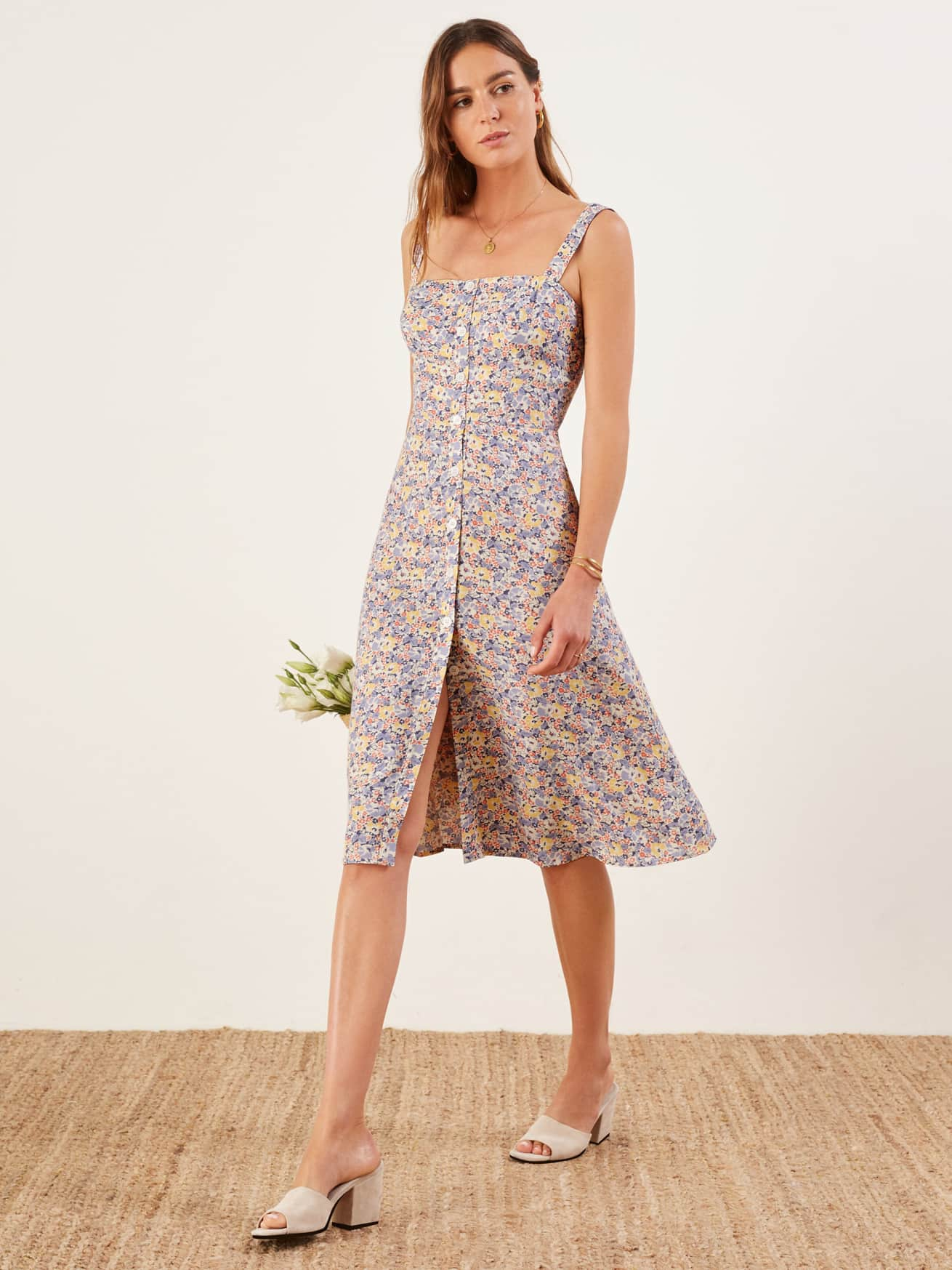 floral button up engagement party dress