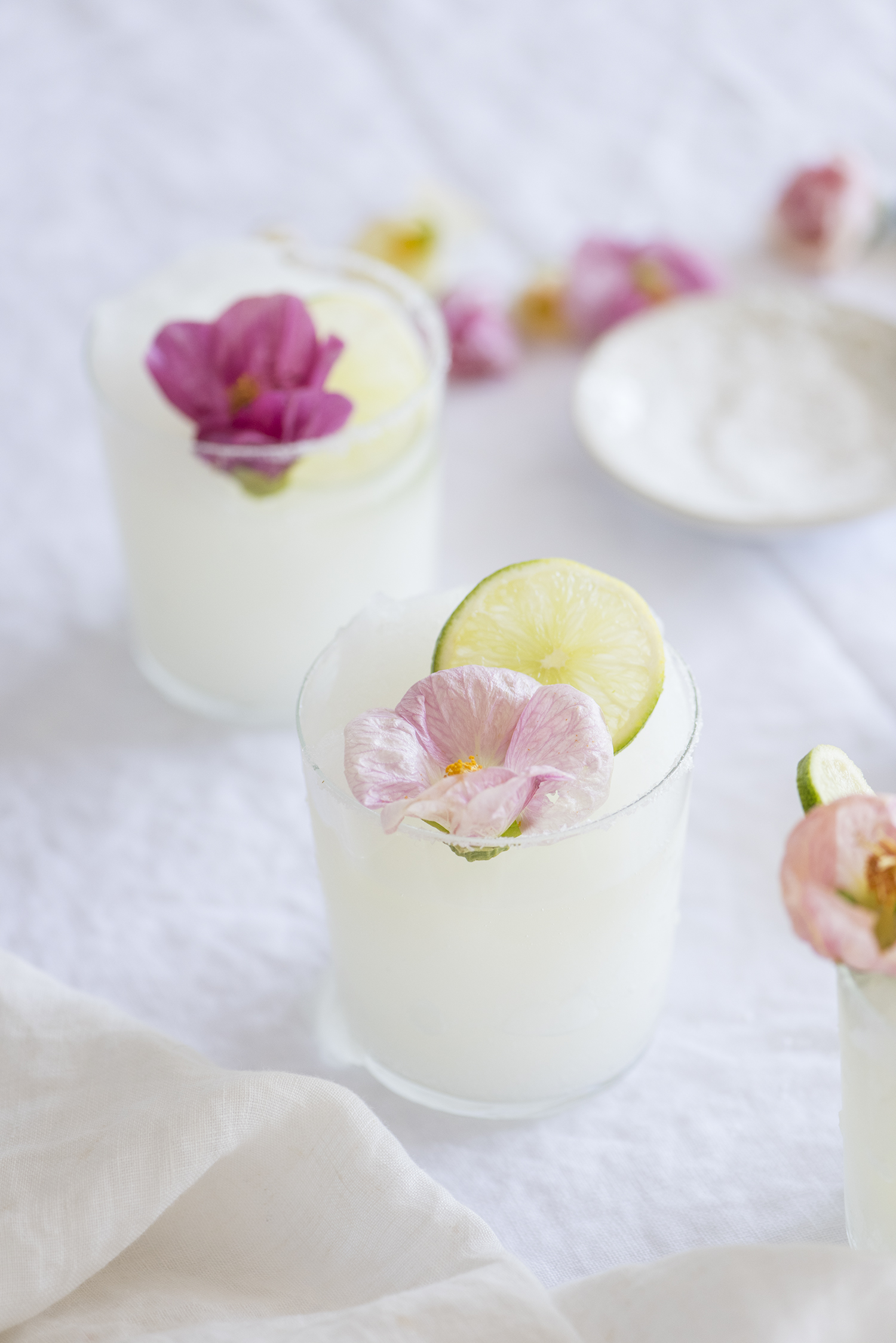 Floral topped Frozen Margaritas