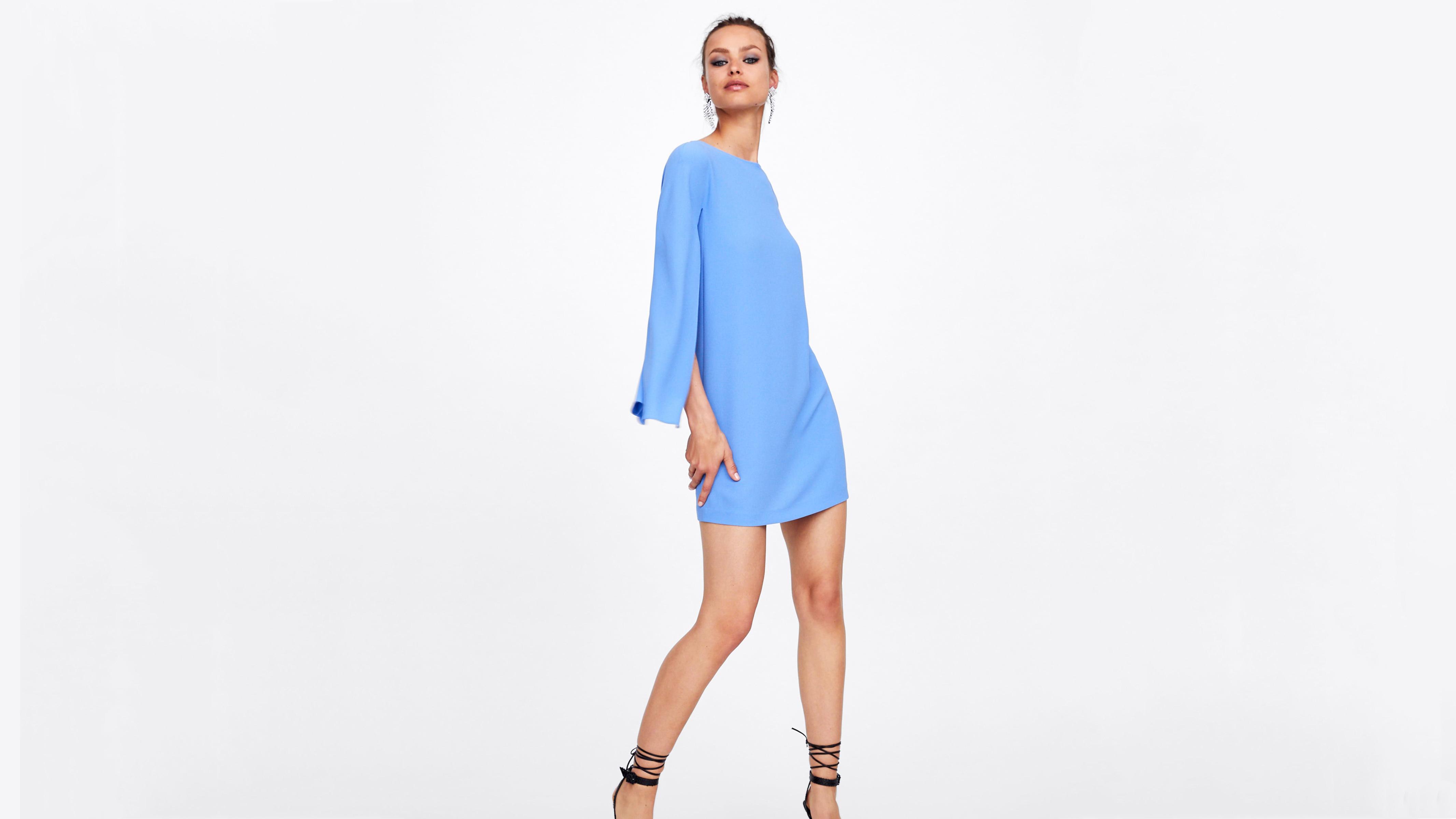 Blue Zara Cape-Sleeve Dress