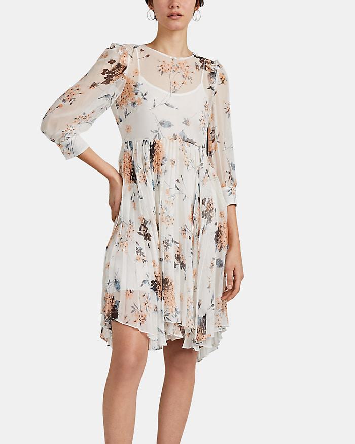 """Yasmine"" Floral Silk Chiffon Dress"