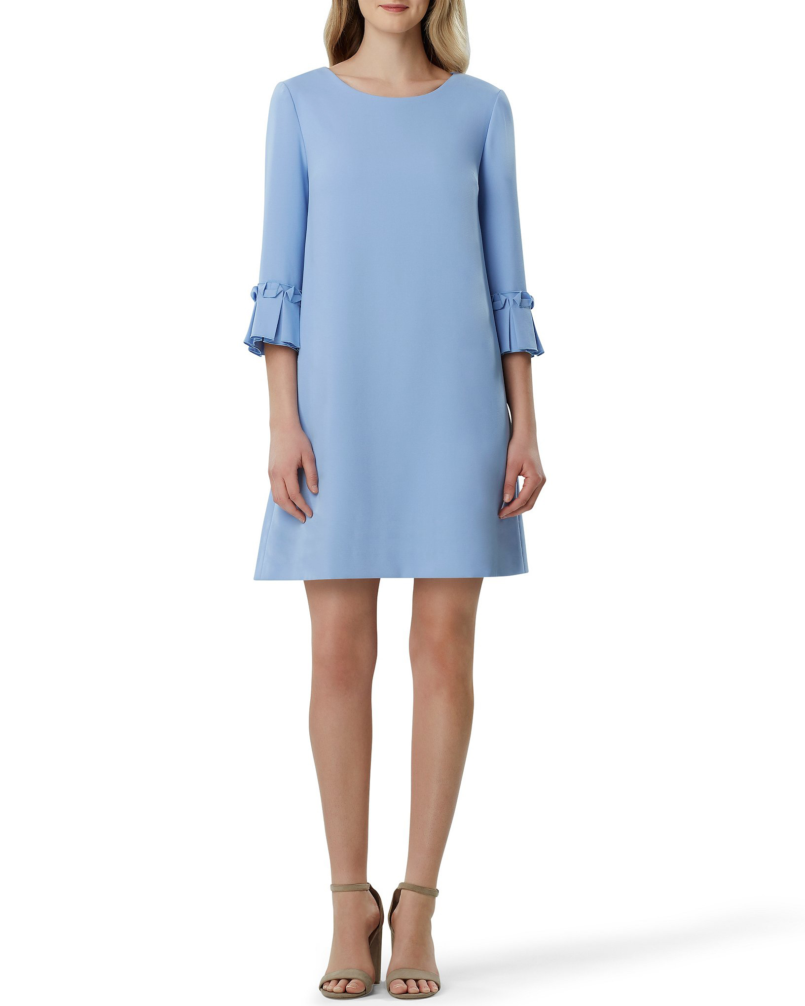 Blue Tahari ASL Crepe Bell-Sleeve Shift Dress