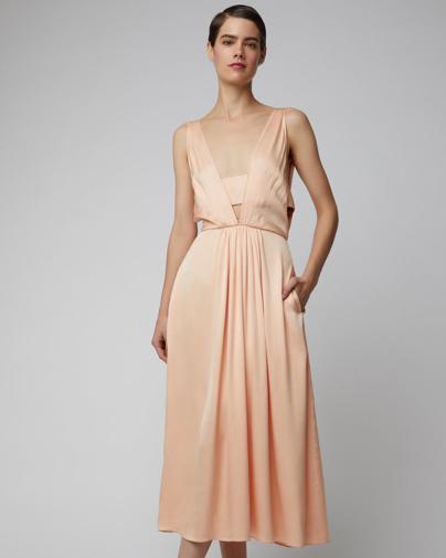 Rochas Silk Satin Midi Dress