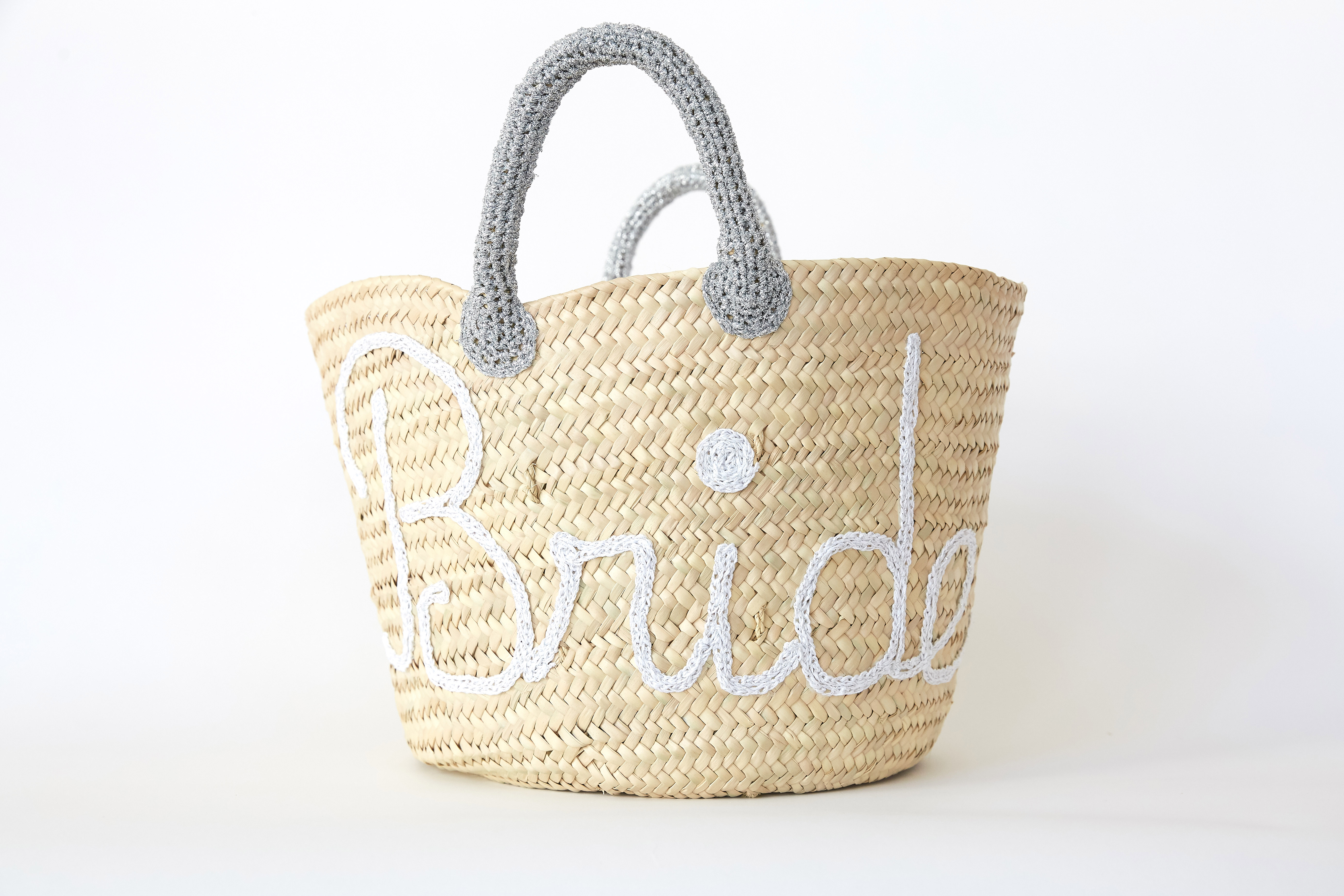 """Straw Tote Bag with """"Bride"""" Detail"""