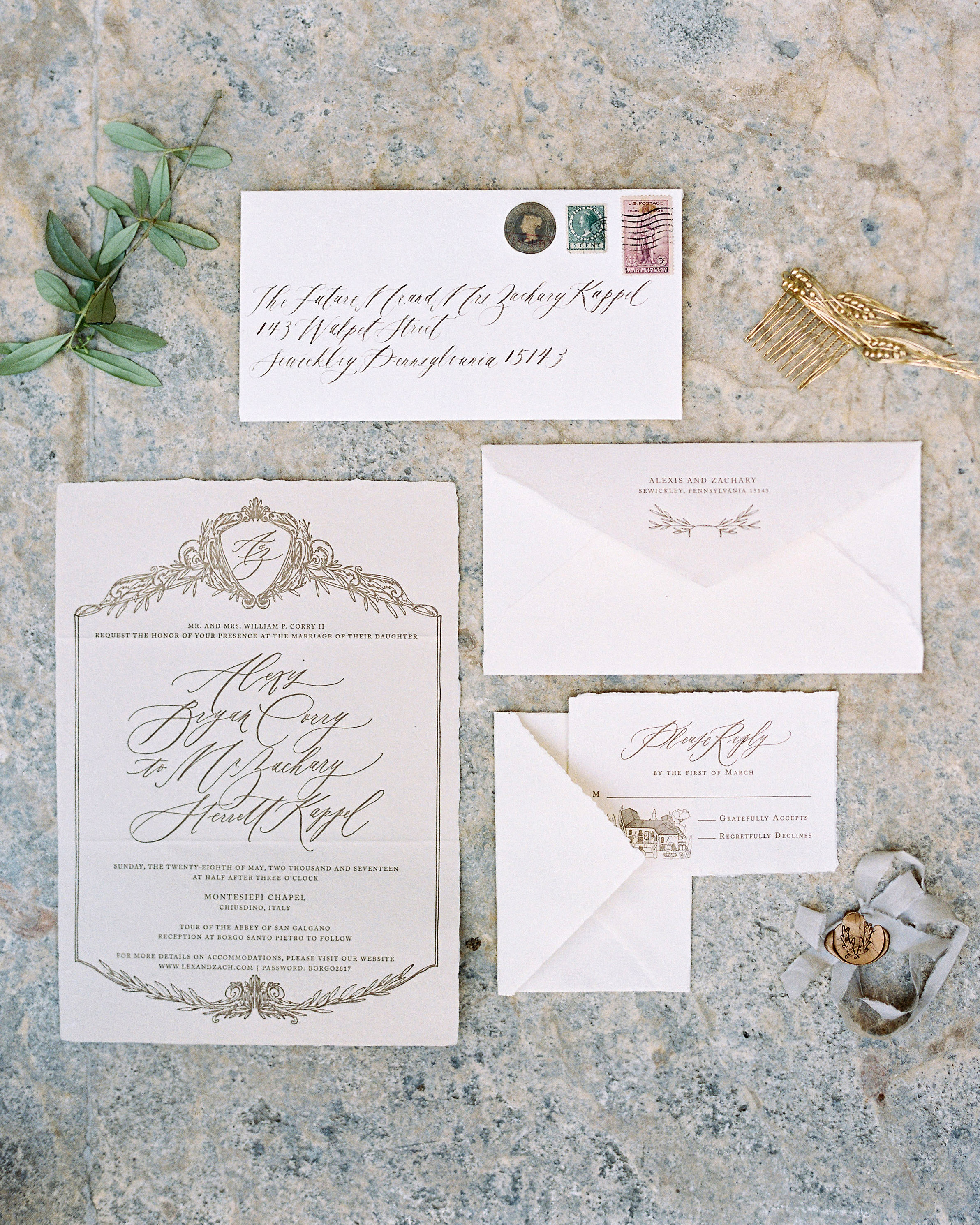 alexis zach wedding italy invitation
