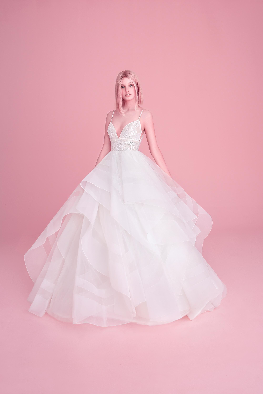 hayley paige wedding dress spring 2019 ruffled skirt lace bodice