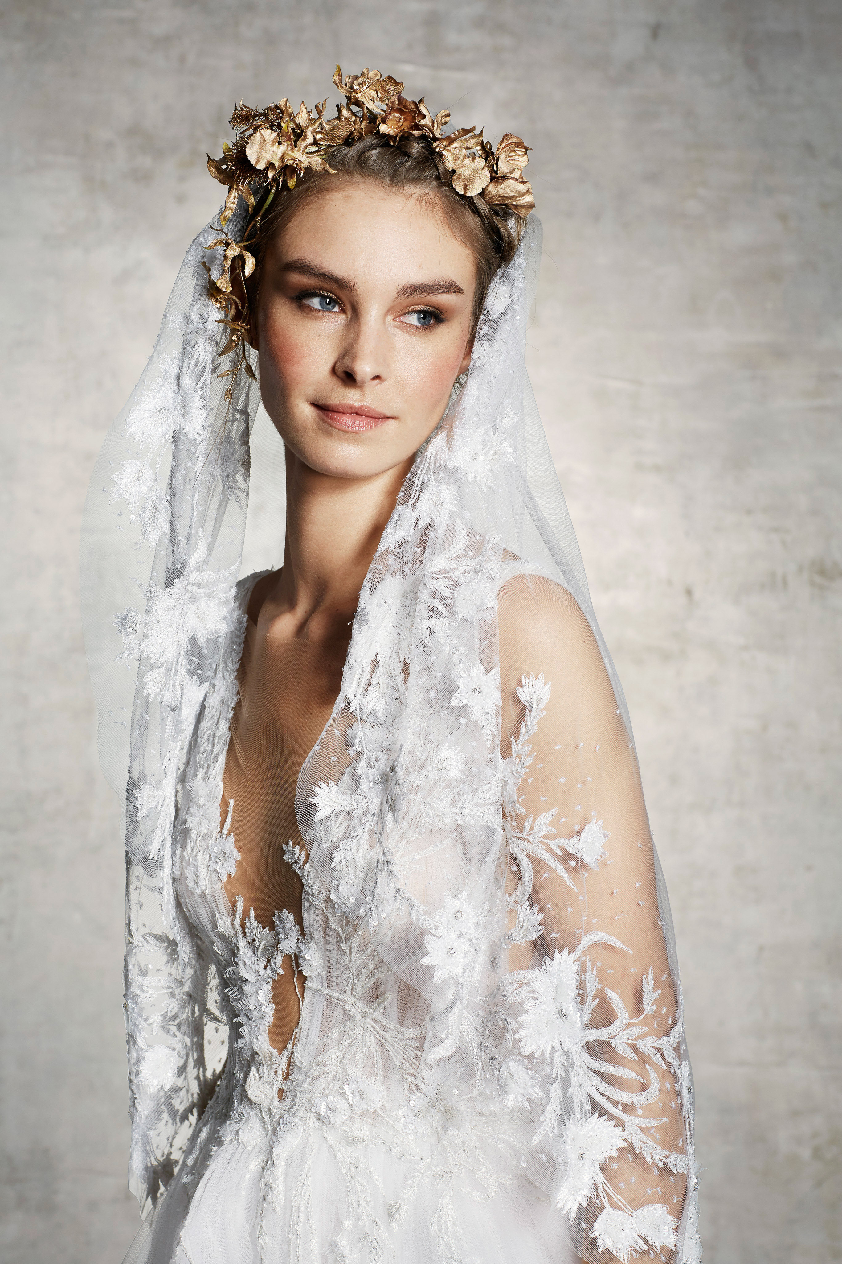 marchesa bridal wedding dress floral embroidery veil deep v