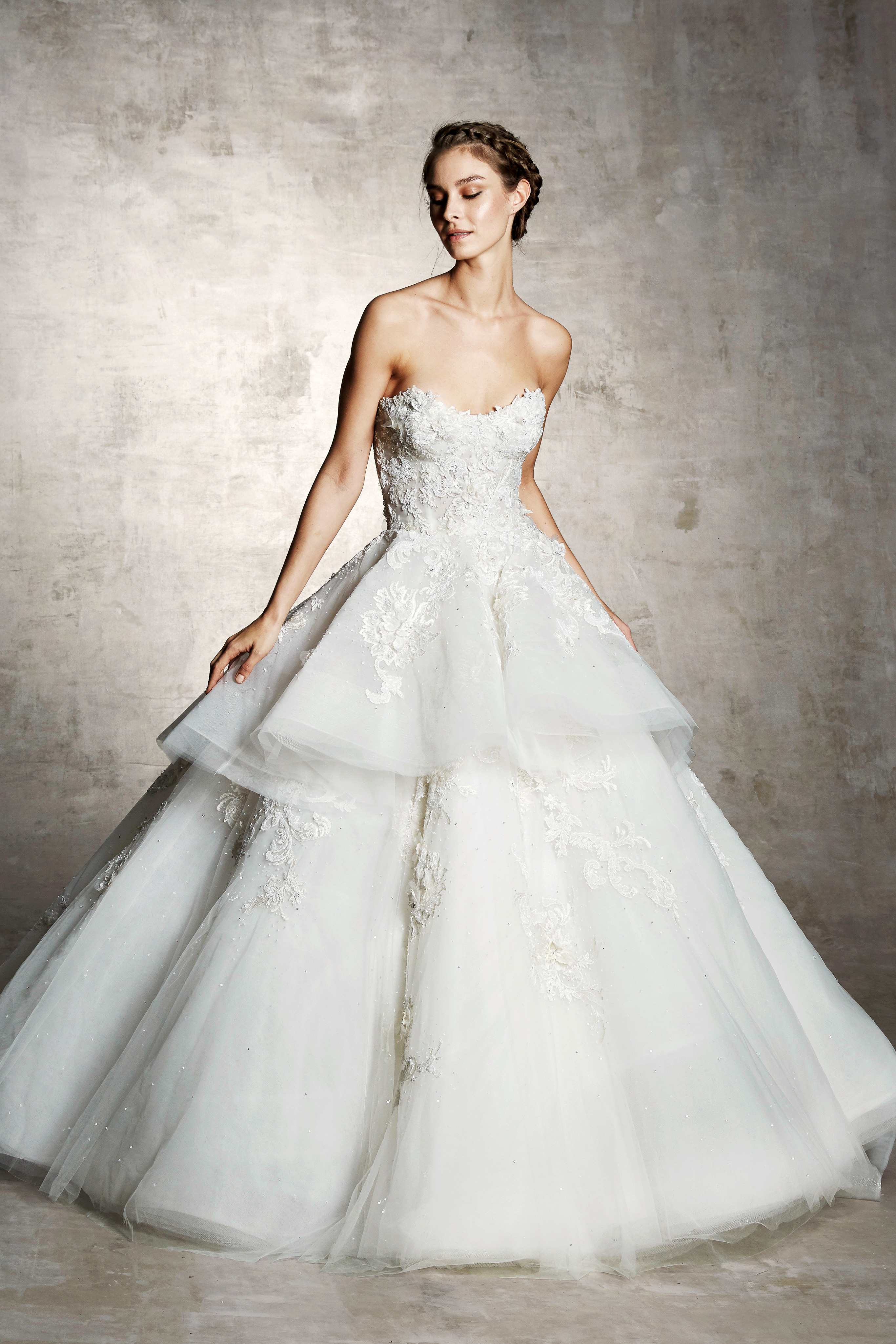 marchesa bridal wedding dress sweetheart layers floral embroidery