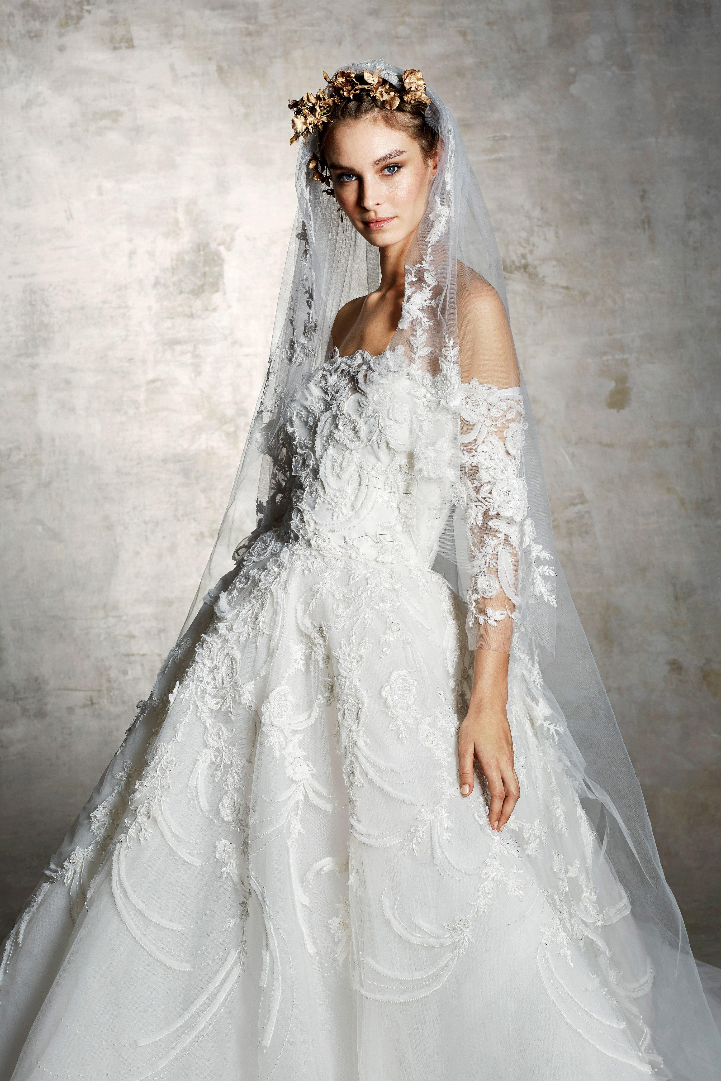 marchesa bridal wedding dress off the shoulder a-line floral embroidery veil