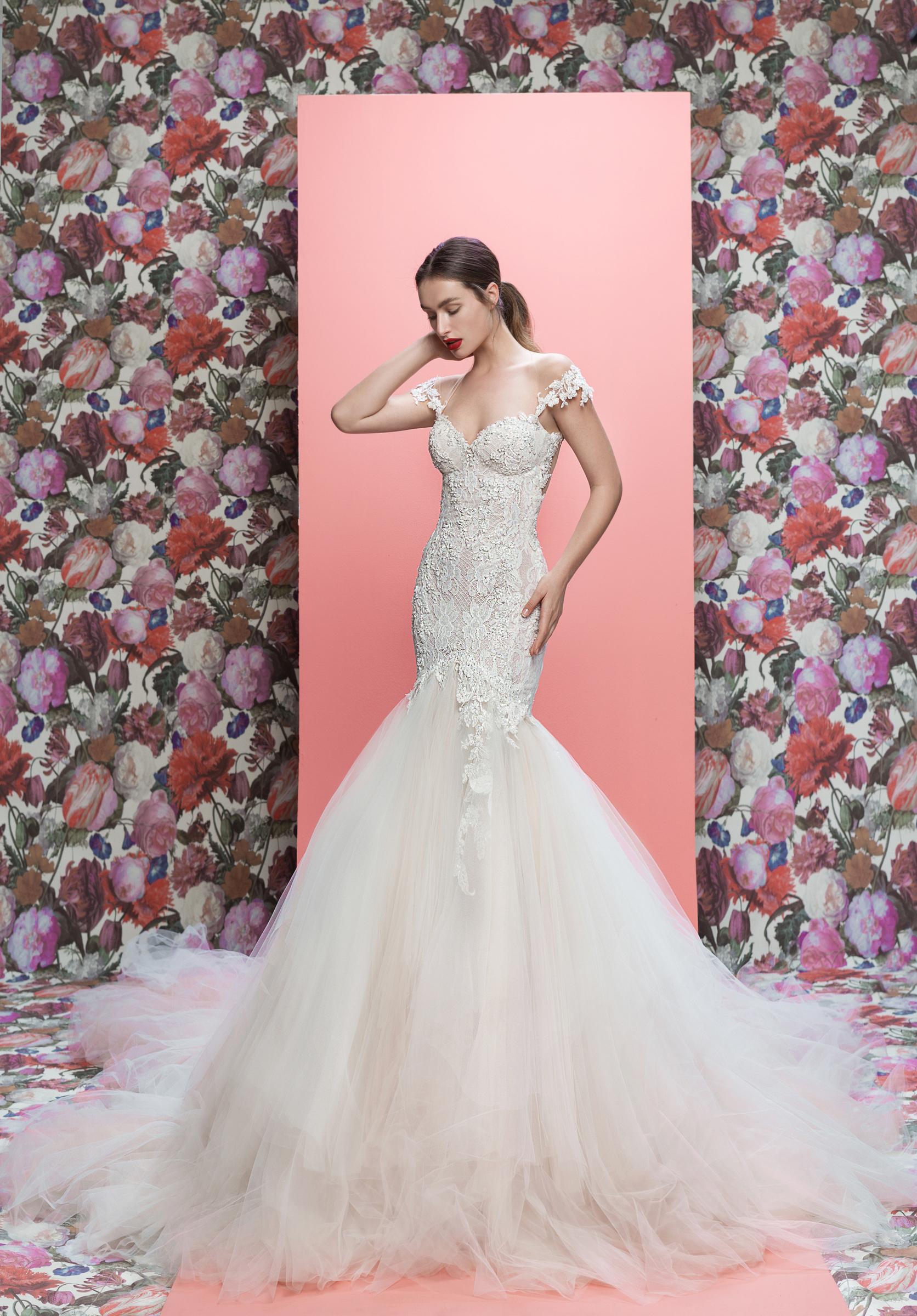 Galia Lahav wedding dress spring 2019 lace off-the-shoulder trumpet