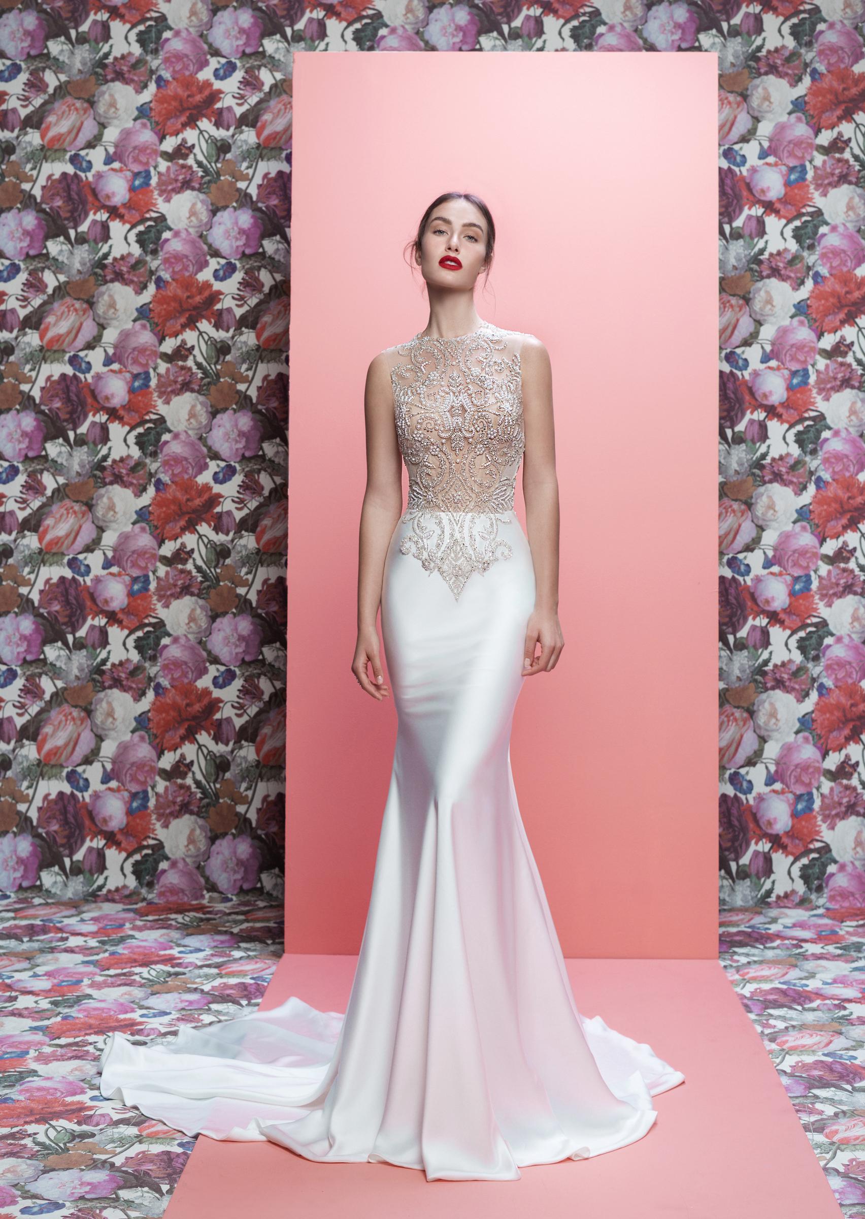Galia Lahav wedding dress spring 2019 lace high neck satin trumpet