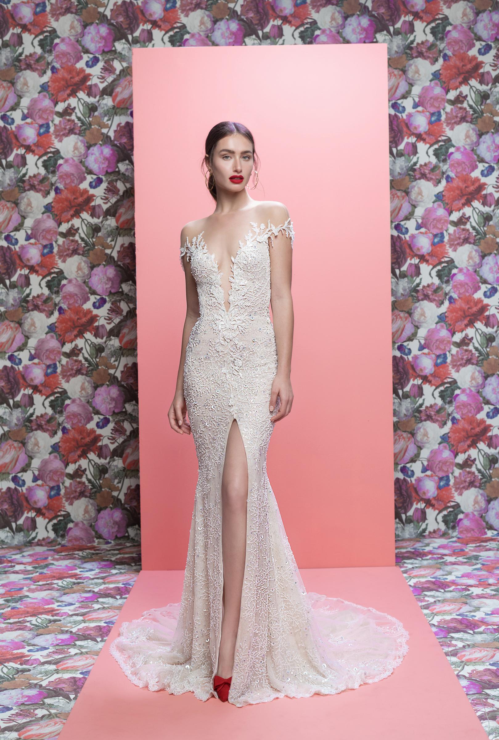 Galia Lahav wedding dress spring 2019 off-the-shoulder v-neck trumpet