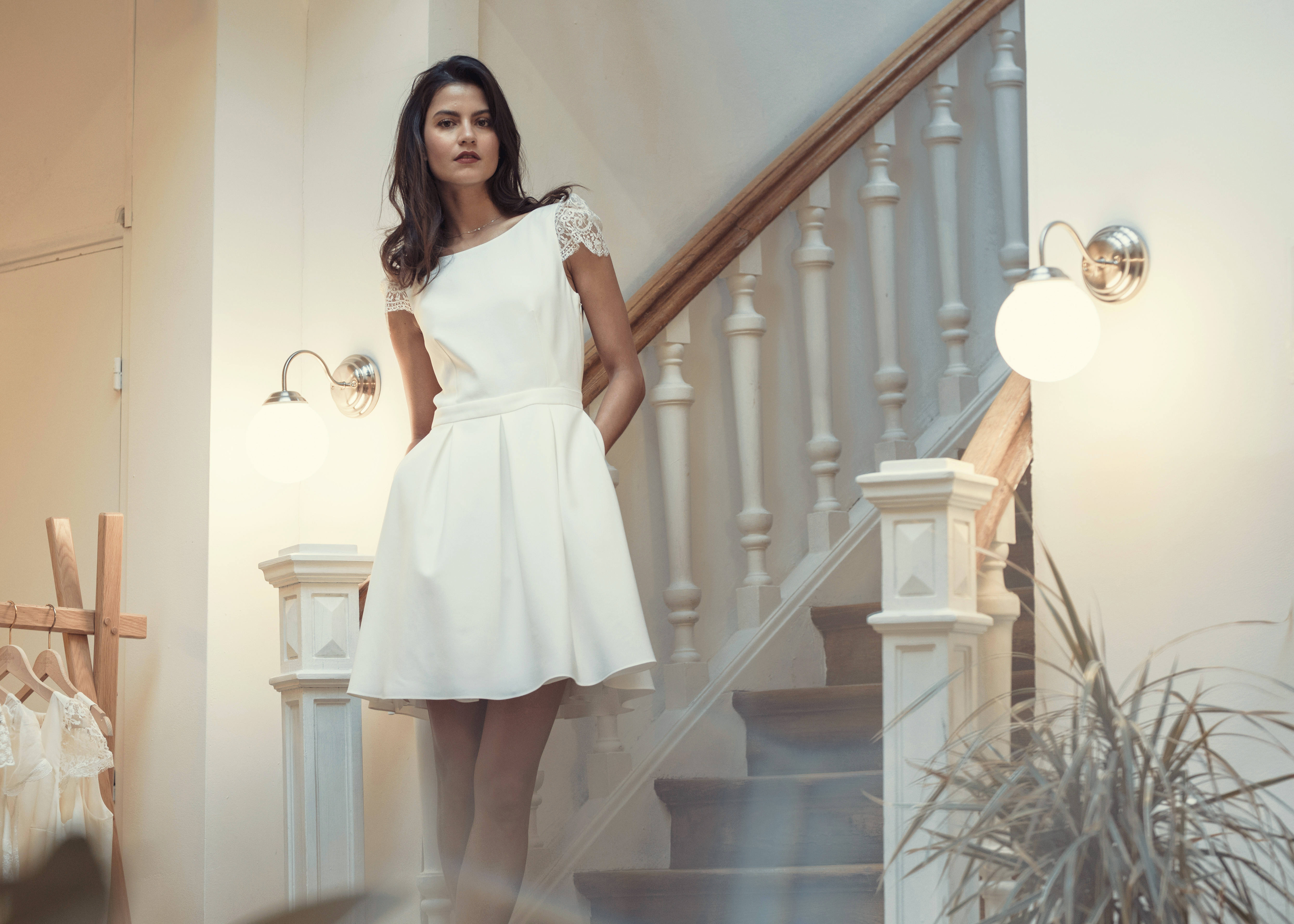 laure de sagazan short cap sleeve wedding dress spring 2019