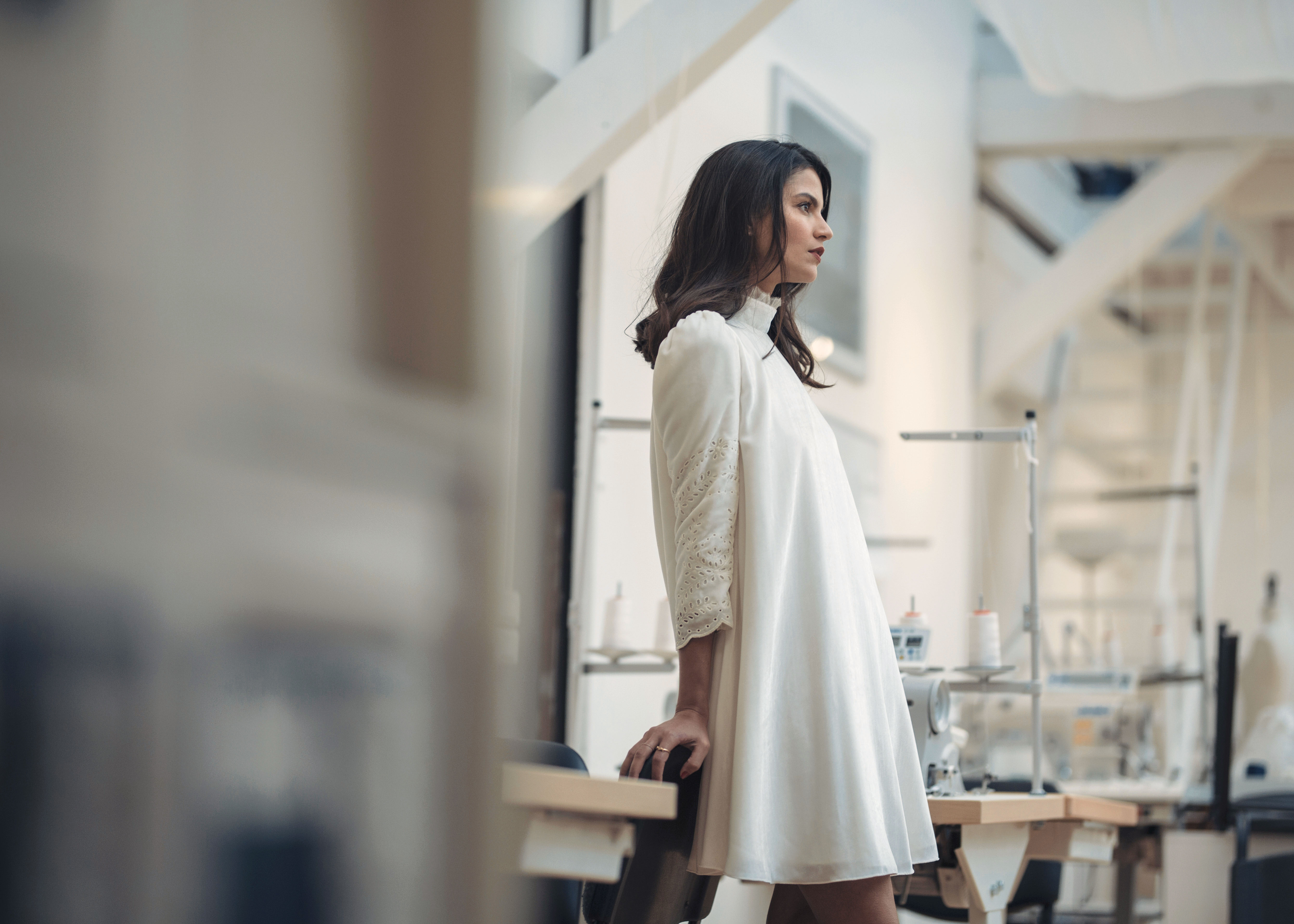 laure de sagazan high neck long sleeve wedding dress spring 2019