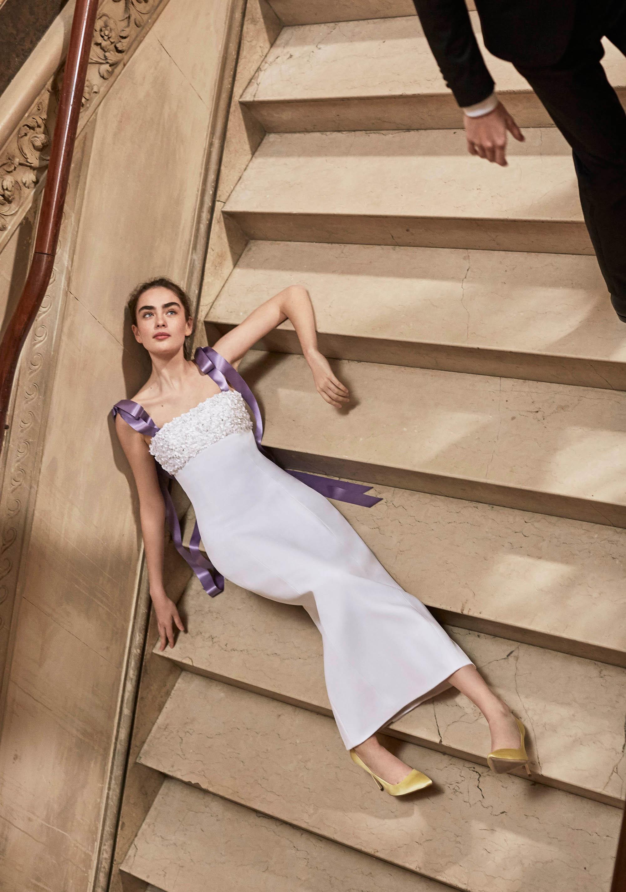 Carolina Herrera wedding dress spring 2019 sheath with purple ribbon straps