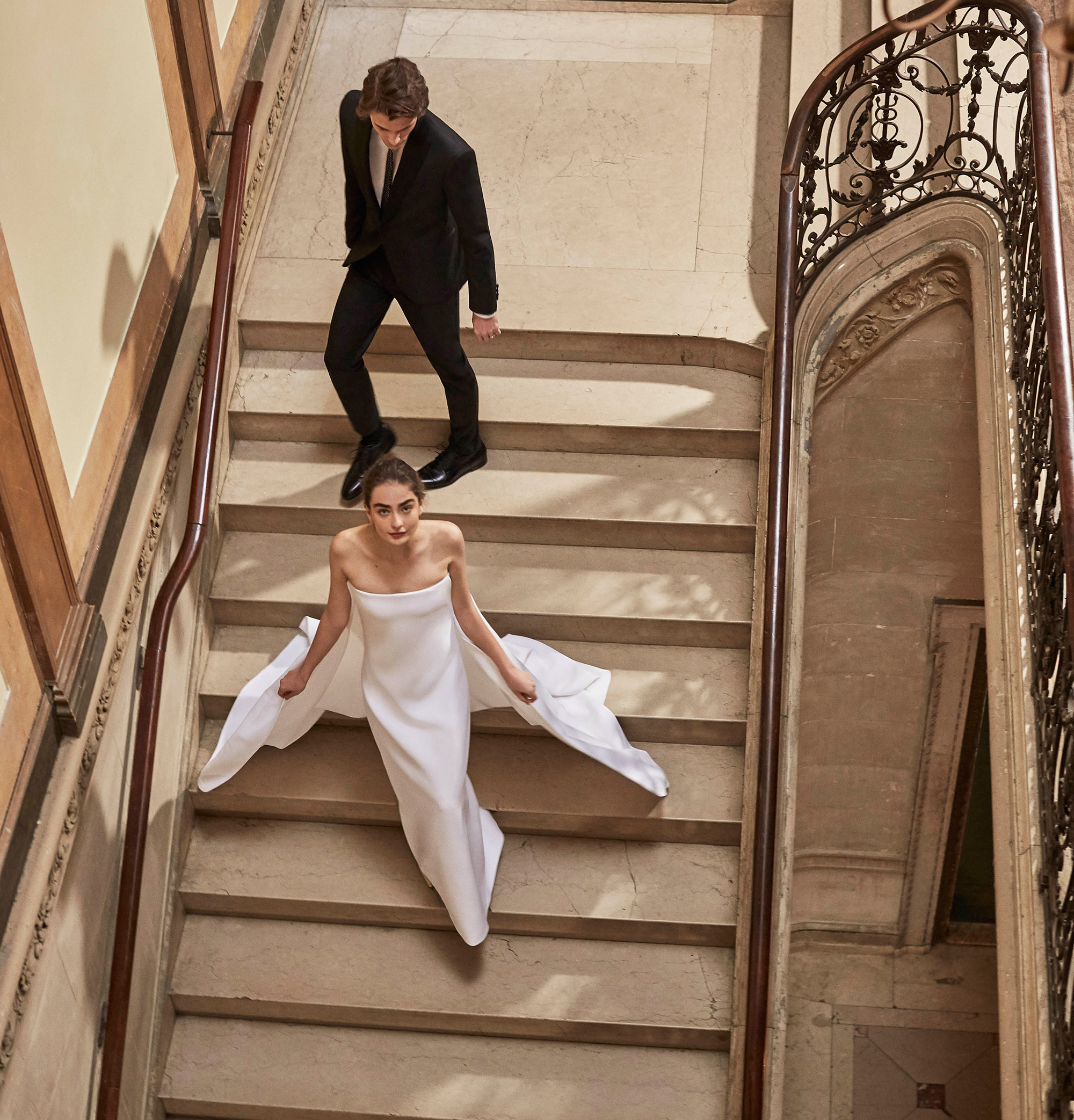 Carolina Herrera wedding dress spring 2019 strapless sheath with cape