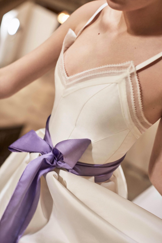 Carolina Herrera wedding dress spring 2019 spaghetti strap with purple ribbon belt