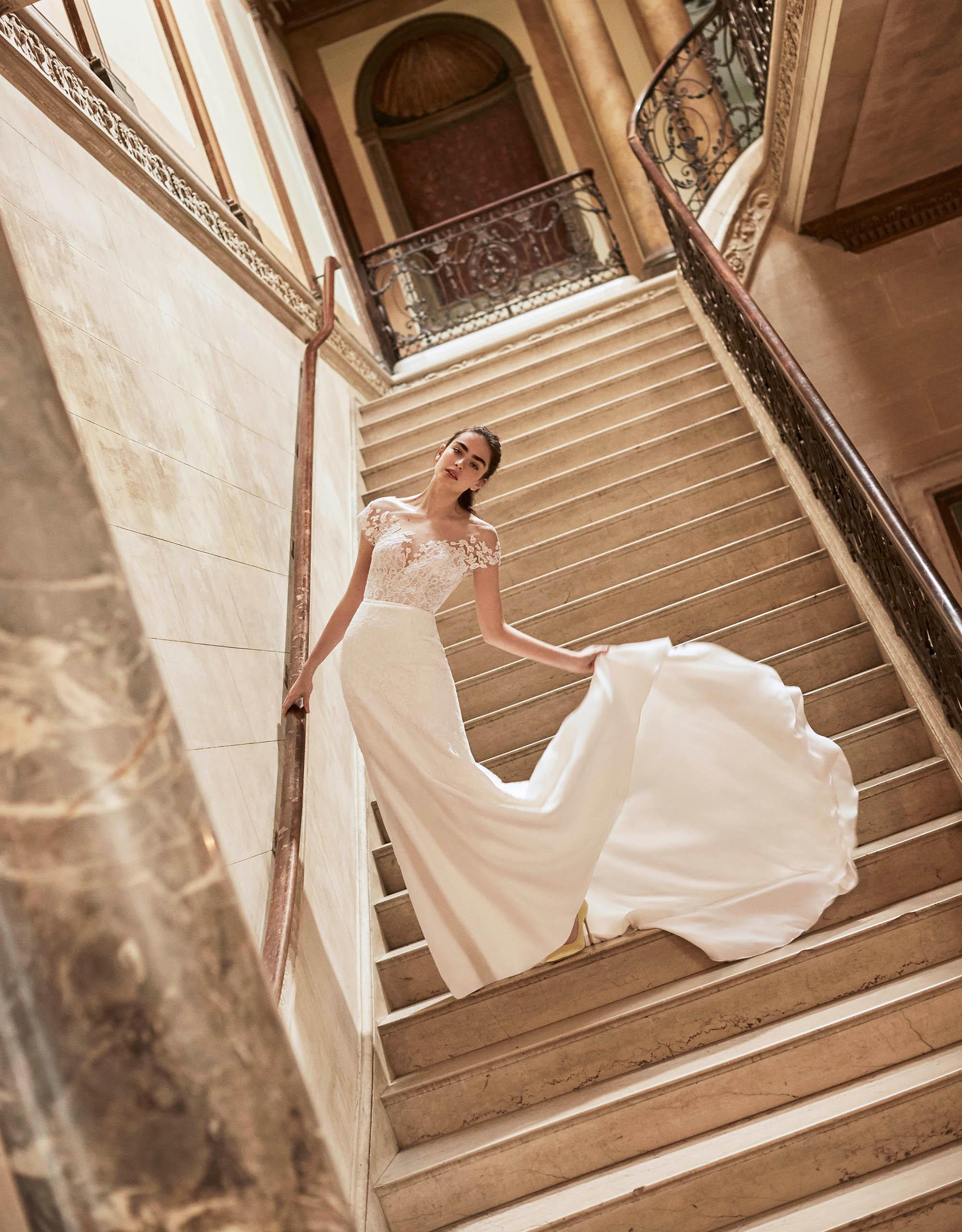 Carolina Herrera wedding dress spring 2019 off the shoulder sheath with train
