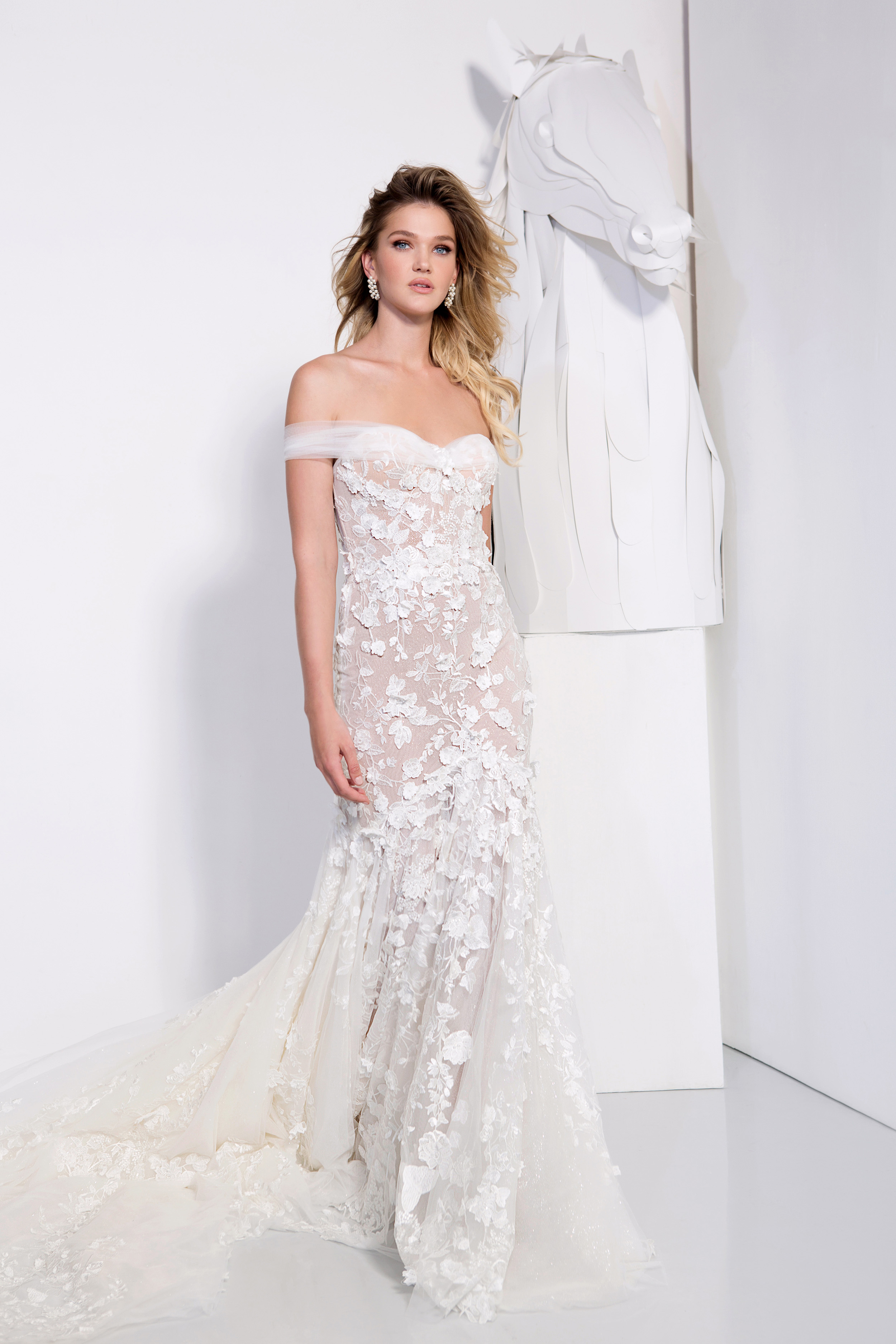persy wedding dress spring 2019 mermaid off the shoulder floral applique gown