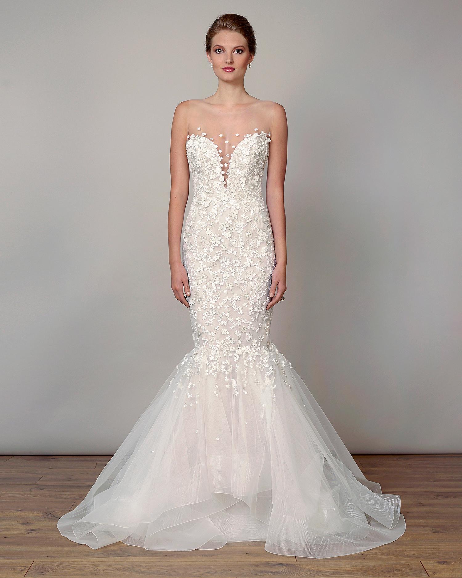 liancarlo wedding dress spring 2019 plunging neckline mermaid
