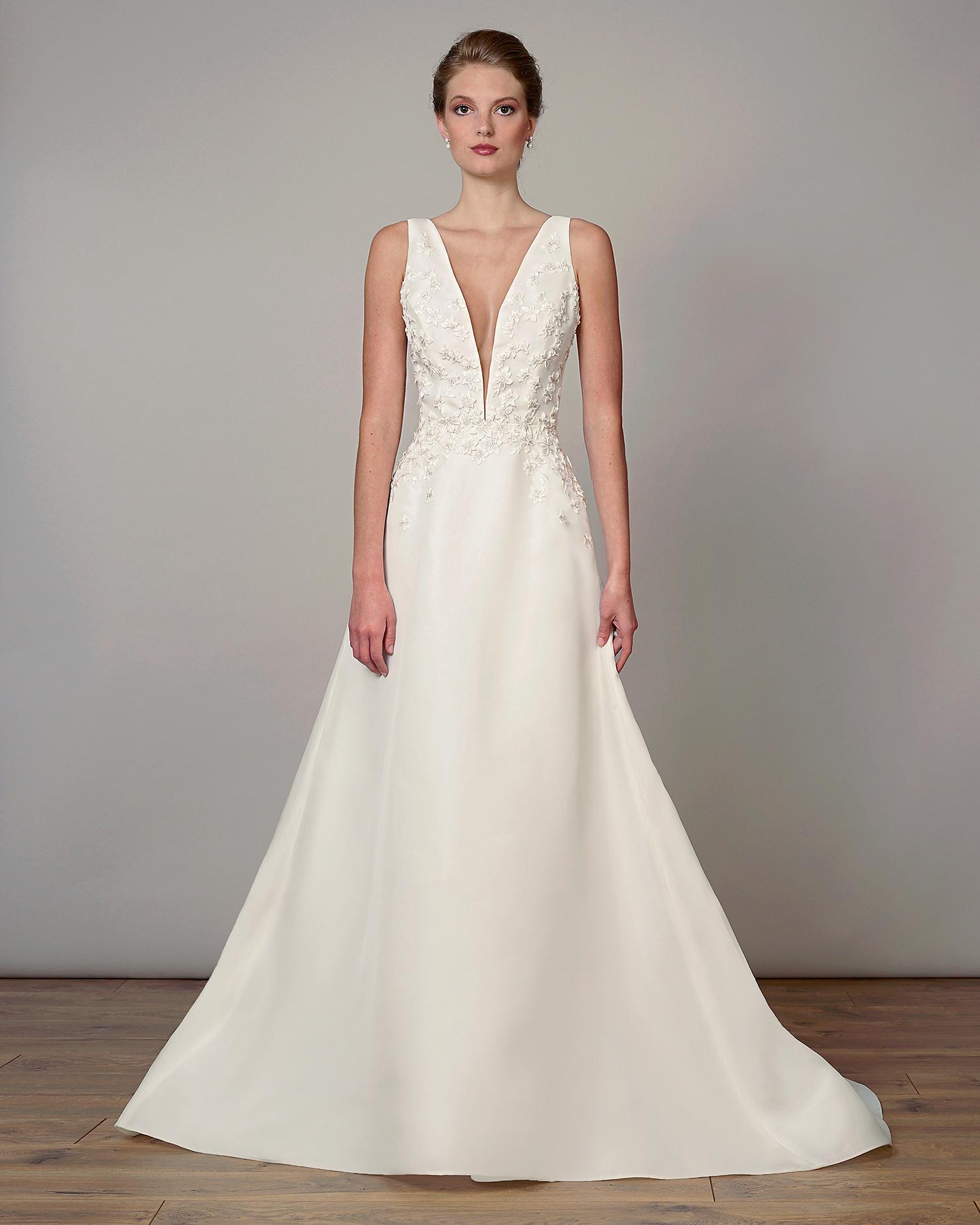 liancarlo wedding dress spring 2019 plunging applique bodice