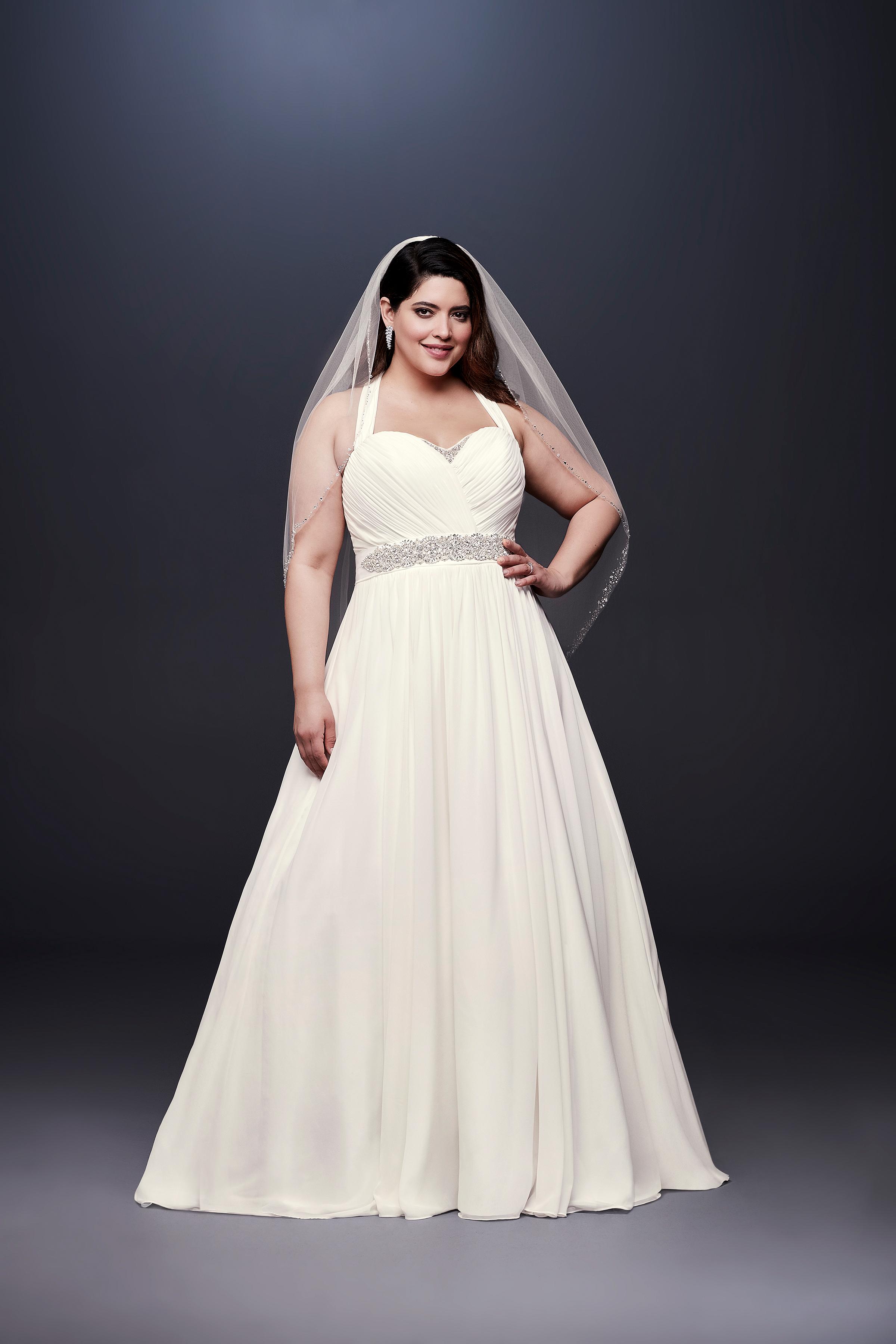david bridal wedding dress spring 2019 halter a-line beaded belt