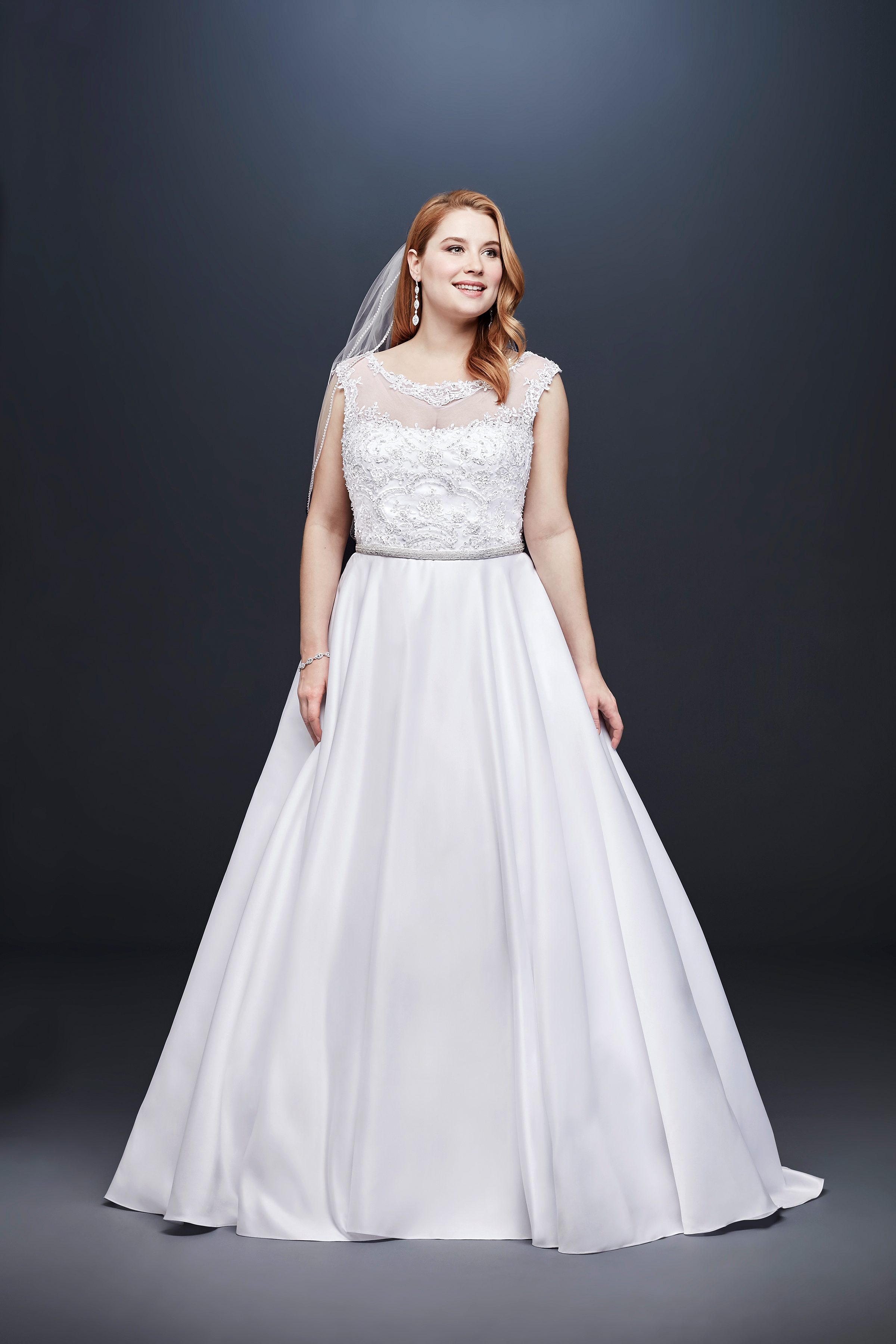 david bridal wedding dress spring 2019 cap sleeves illusion a-line