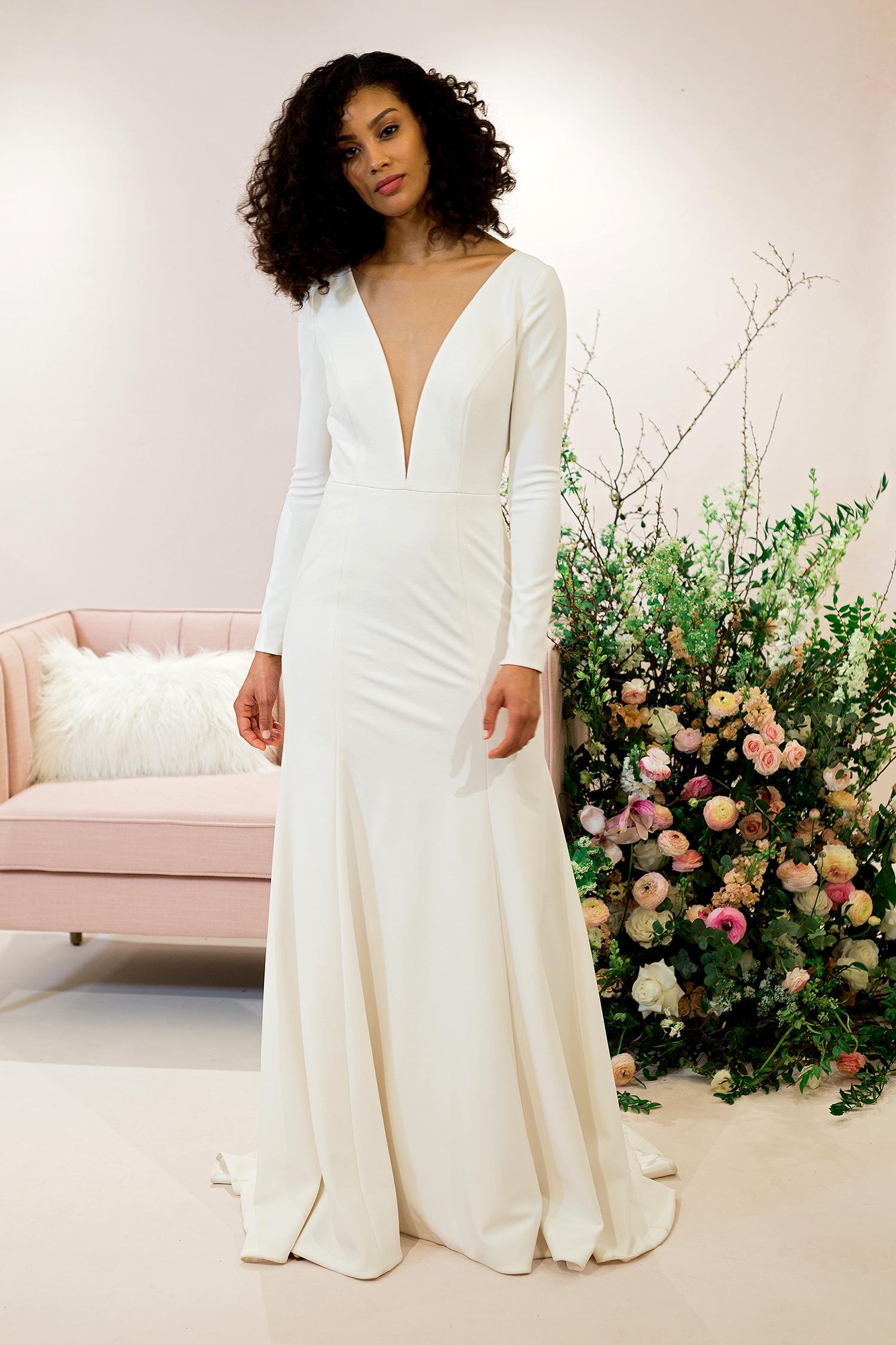jenny by jenny yoo dress spring 2019 long-sleeved minimalist sheath