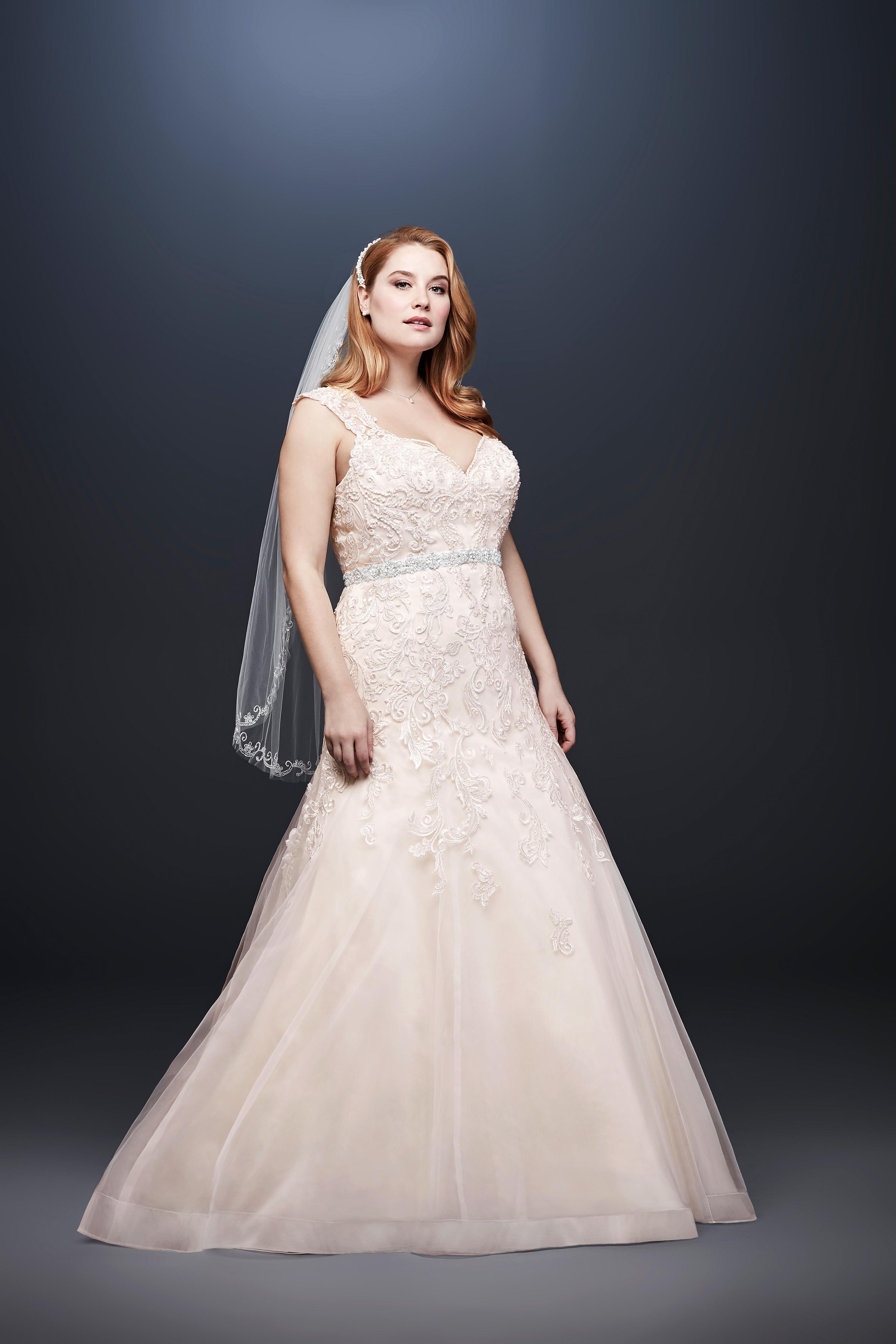 david bridal wedding dress spring 2019 sleeveless beaded belt lace