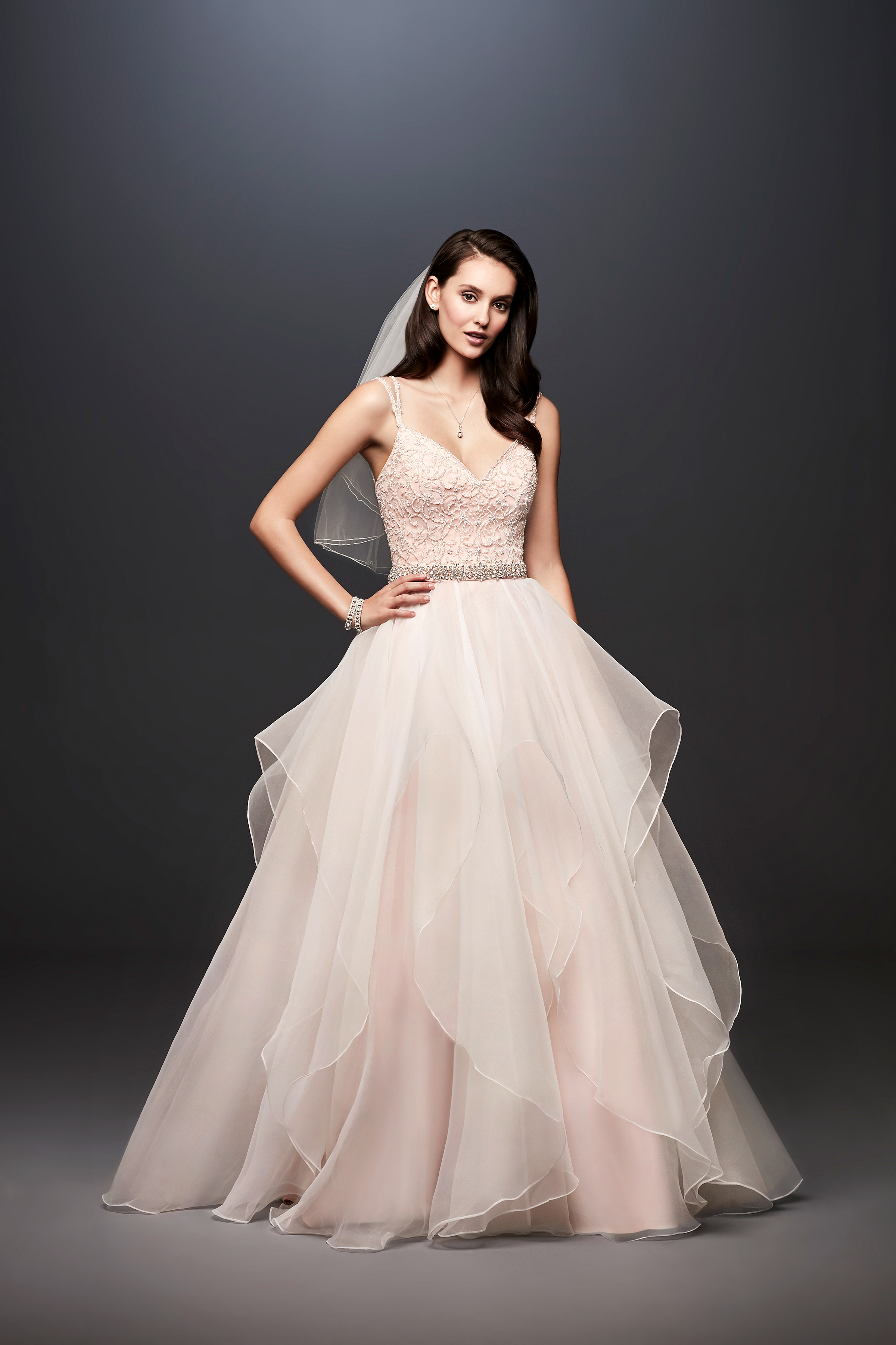 david bridal wedding dress spring 2019 cap sleeves illusion neckline tired