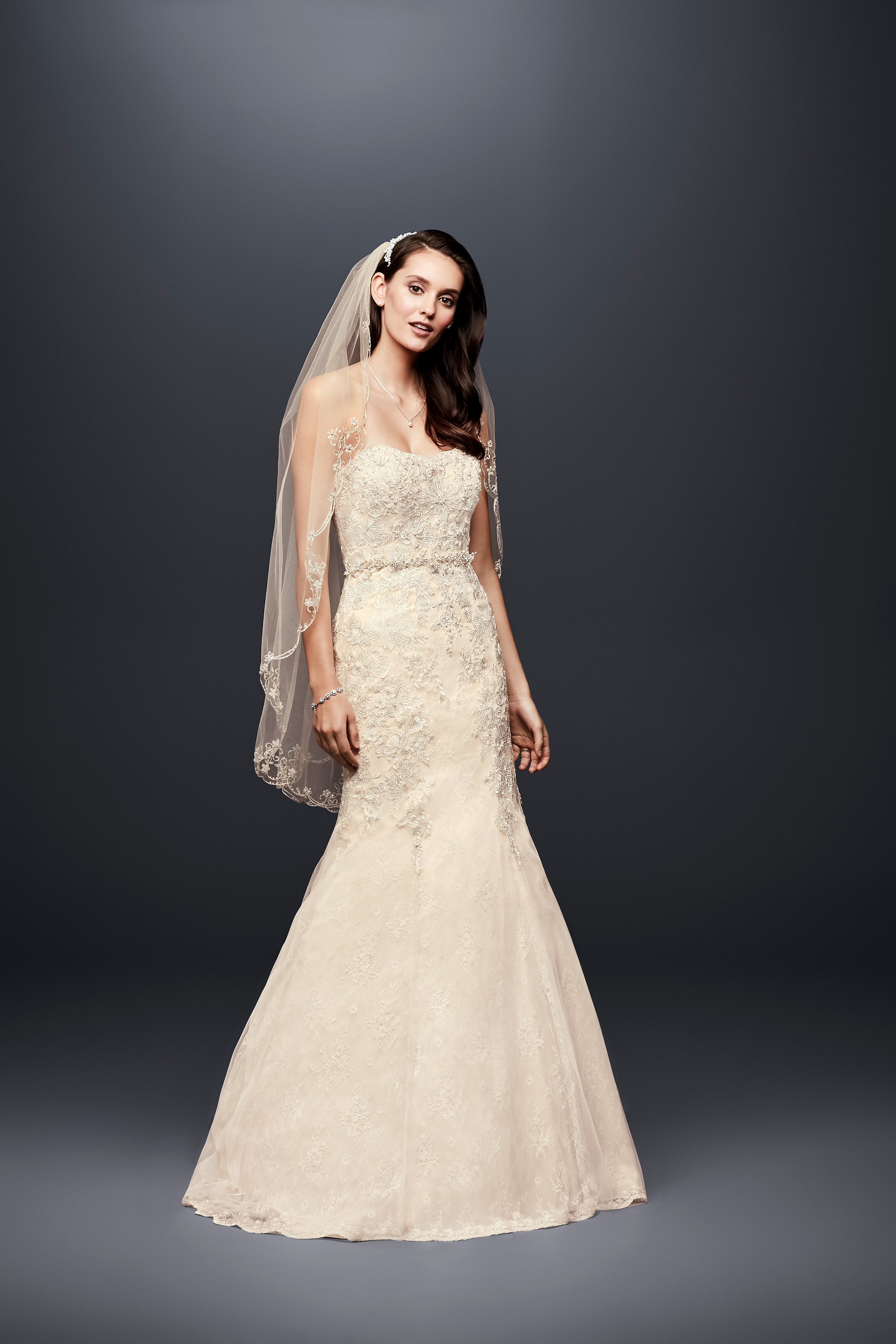 david bridal wedding dress spring 2019 strapless off white trumpet