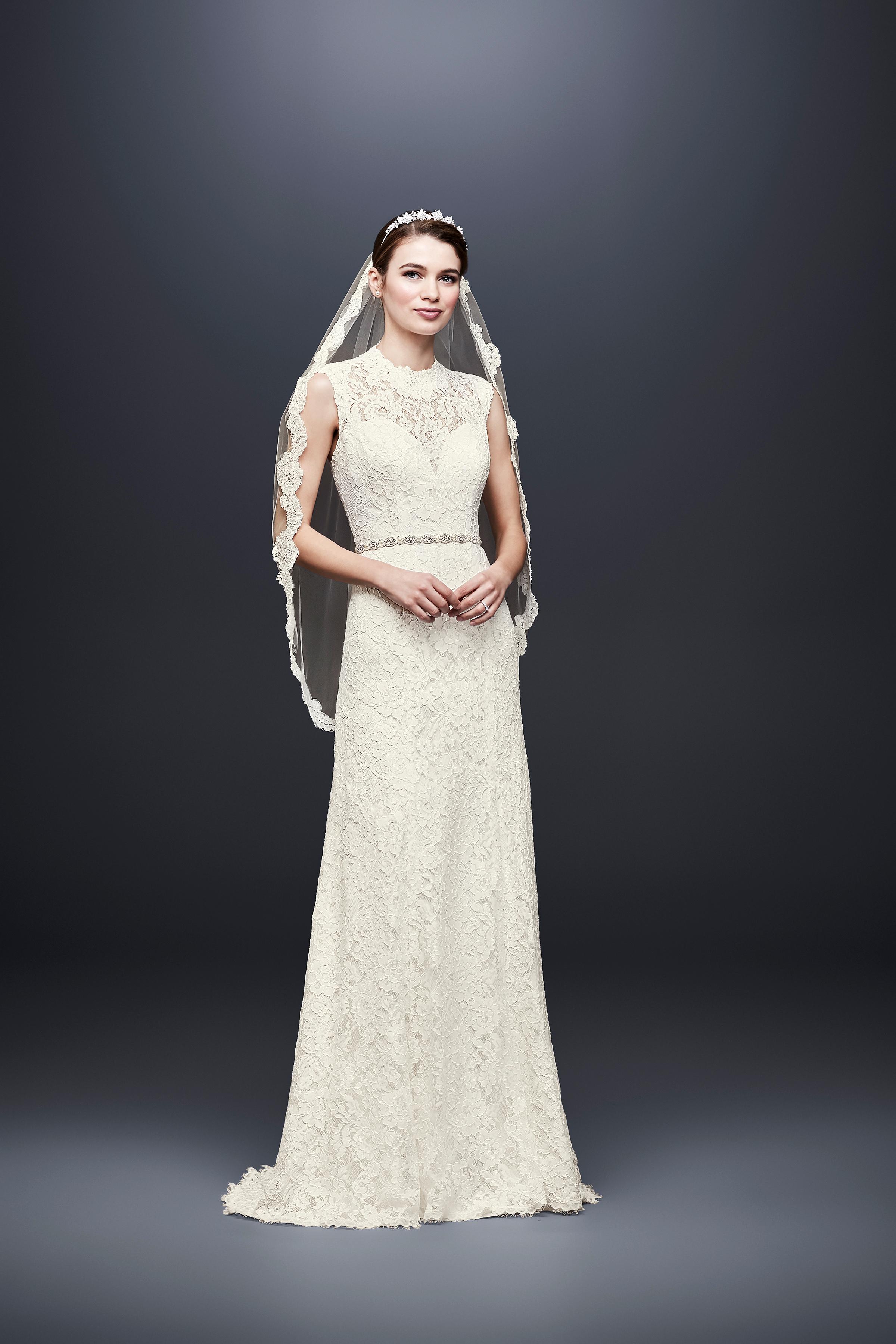 david bridal wedding dress spring 2019 sleeveless high neck lace