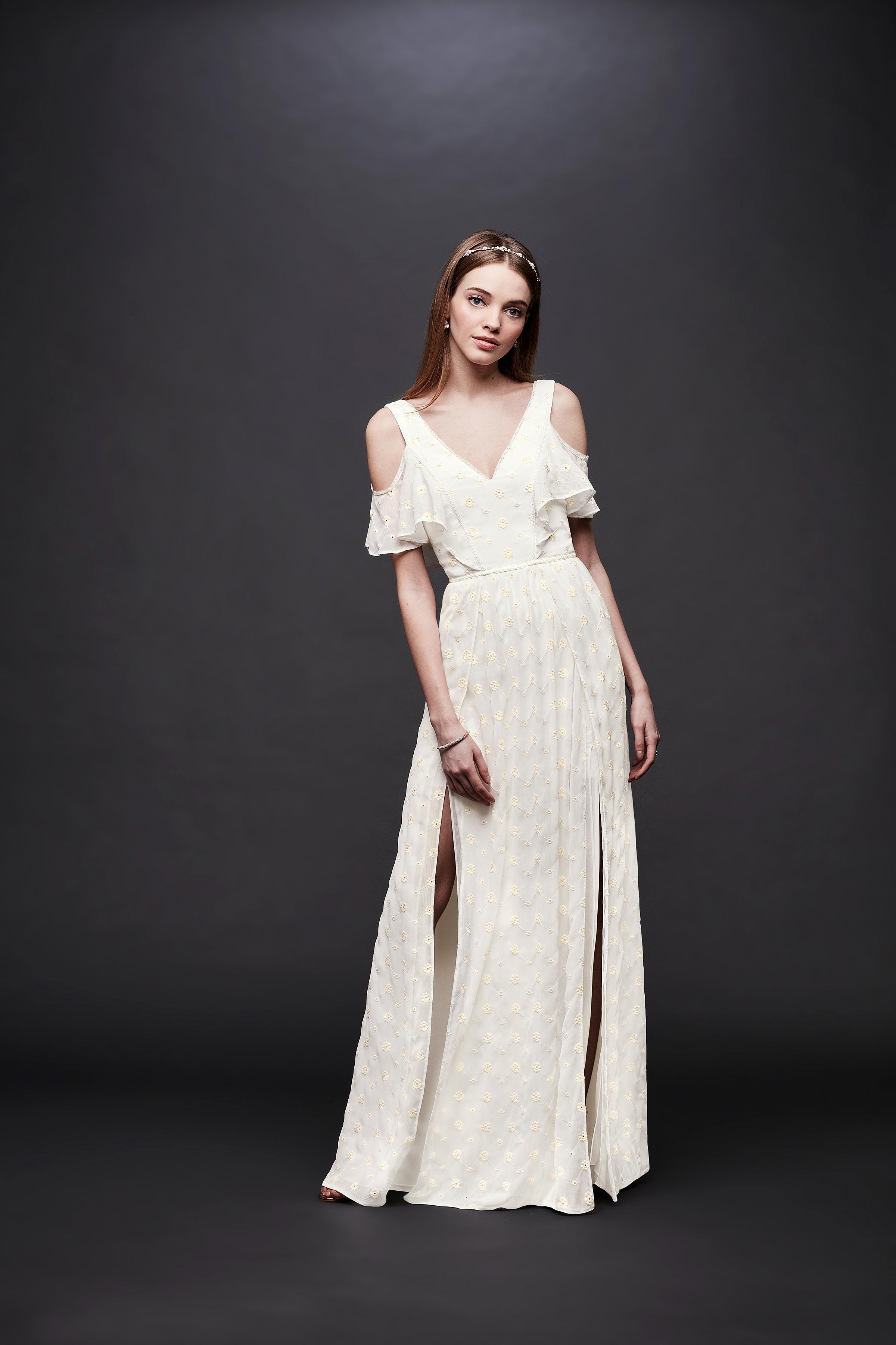 david bridal wedding dress spring 2019 cold shoulder v-neck slits