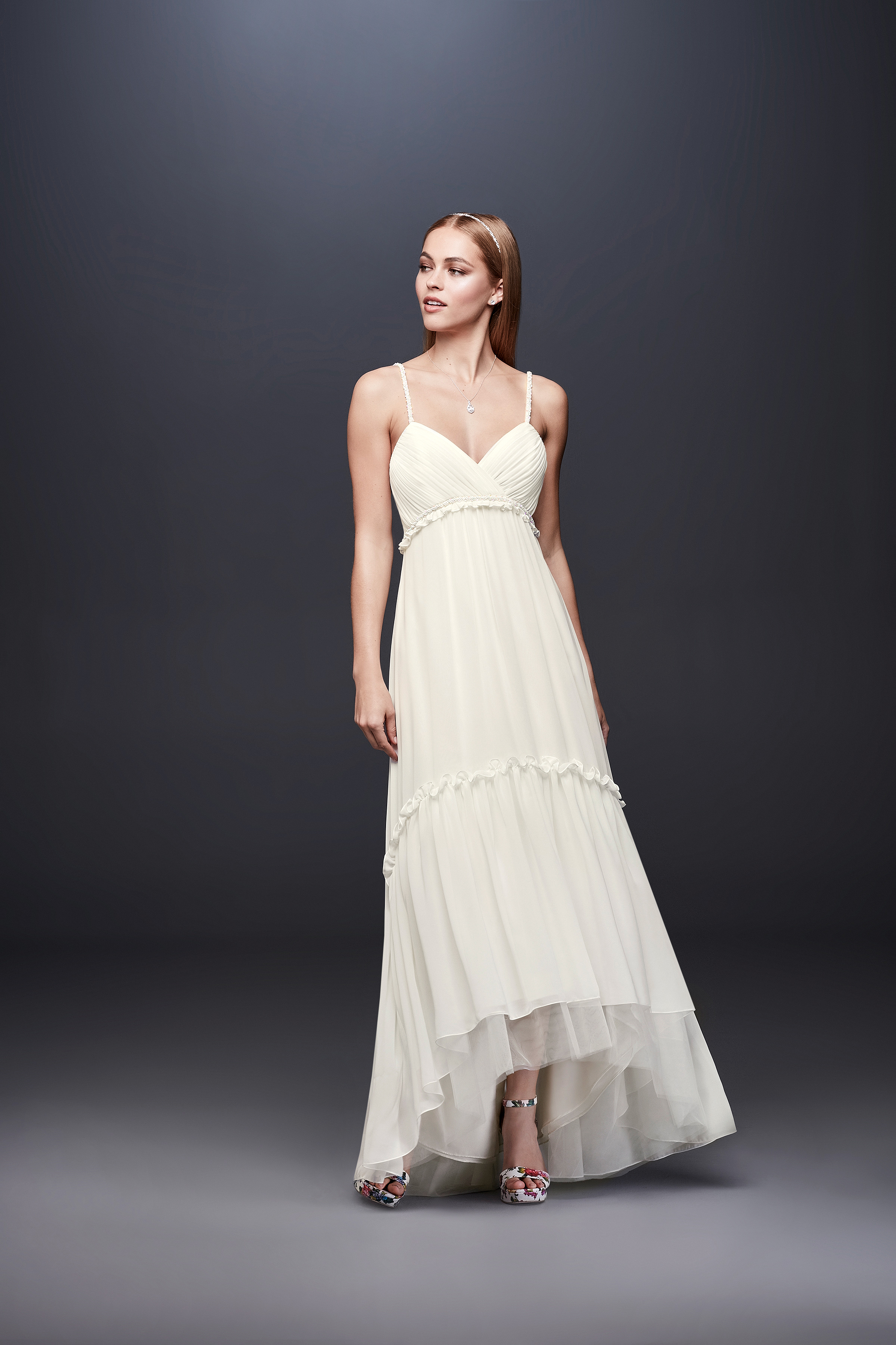 david bridal wedding dress spring 2019 spaghetti strap high-low hem v-neck