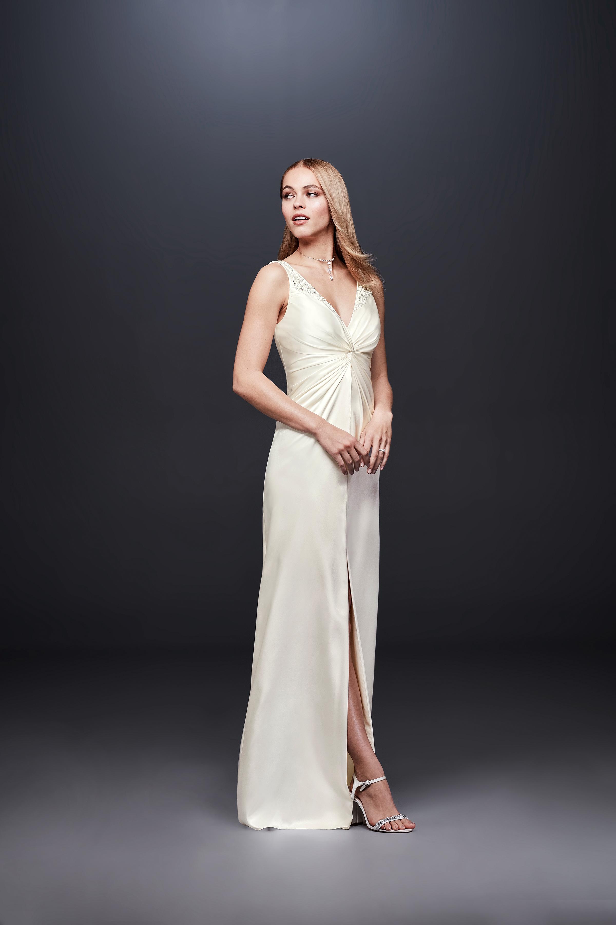 david bridal wedding dress spring 2019 v-neck sleeveless satin