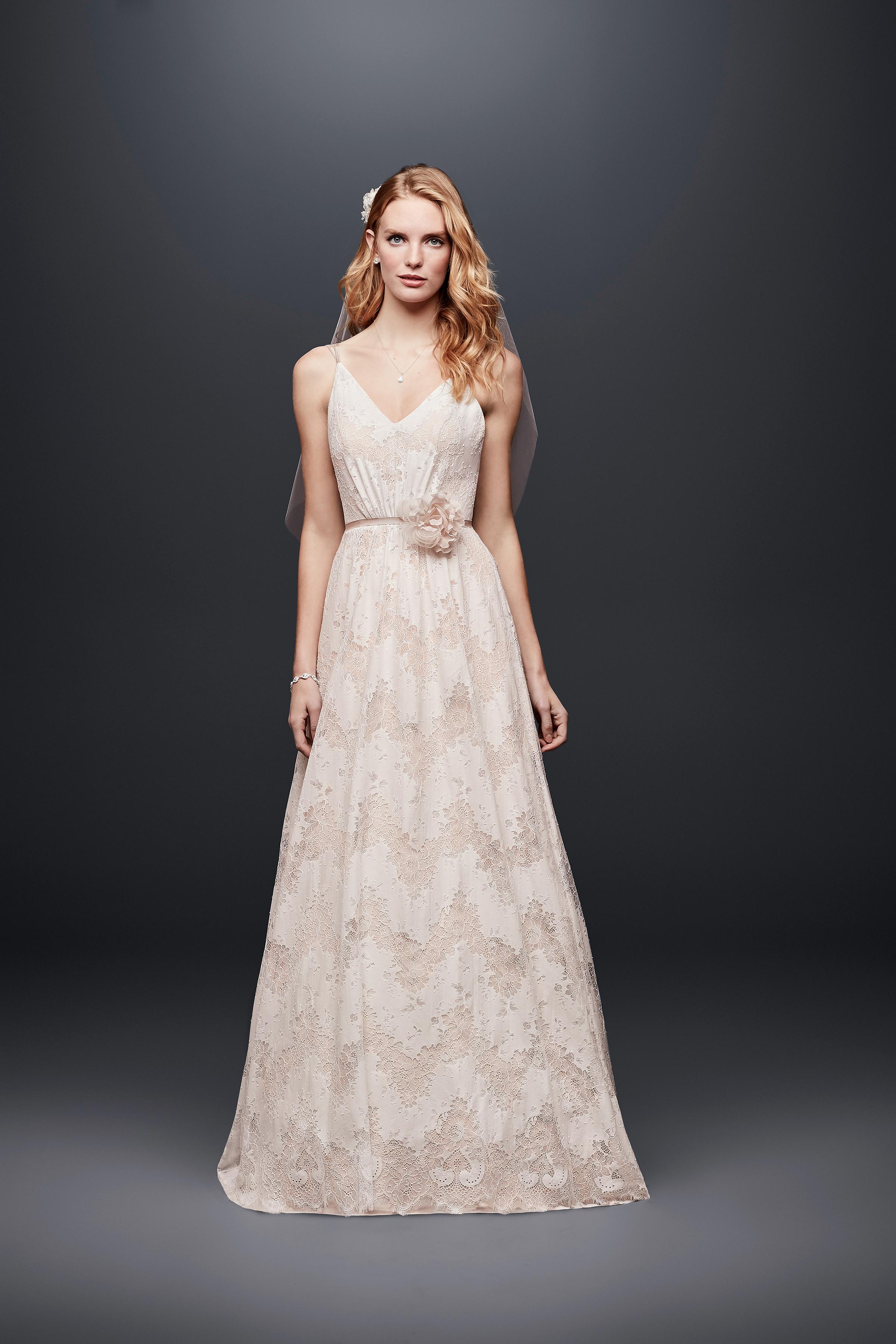 david bridal wedding dress spring 2019 spaghetti strap v-neck a-line