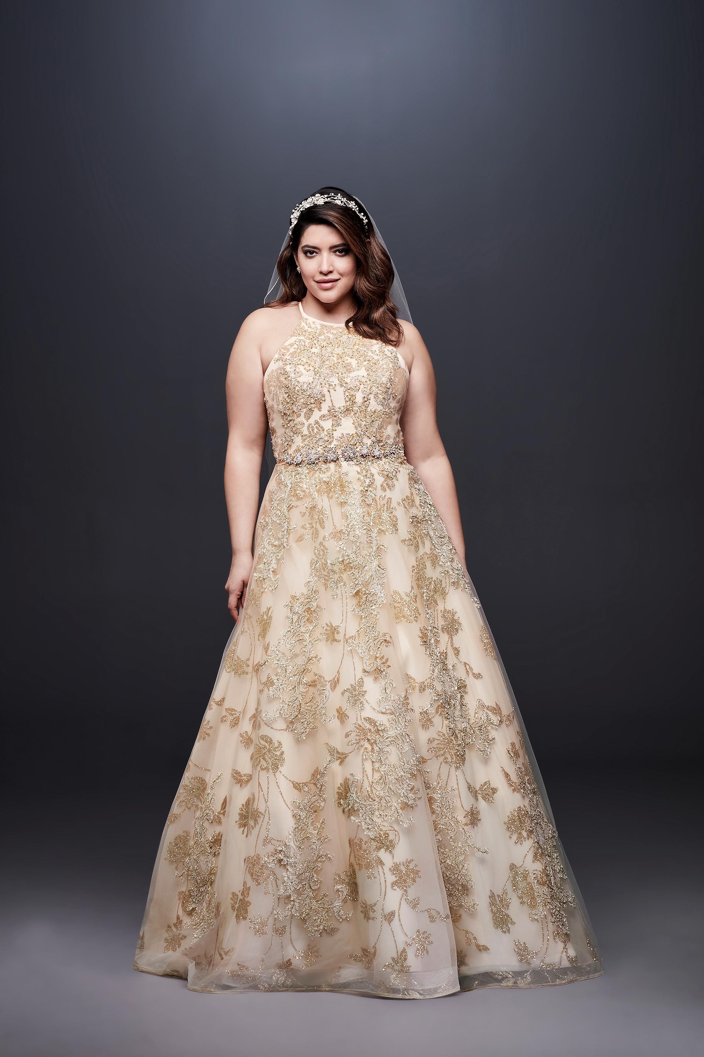 david bridal wedding dress spring 2019 halter a-line beaded gold
