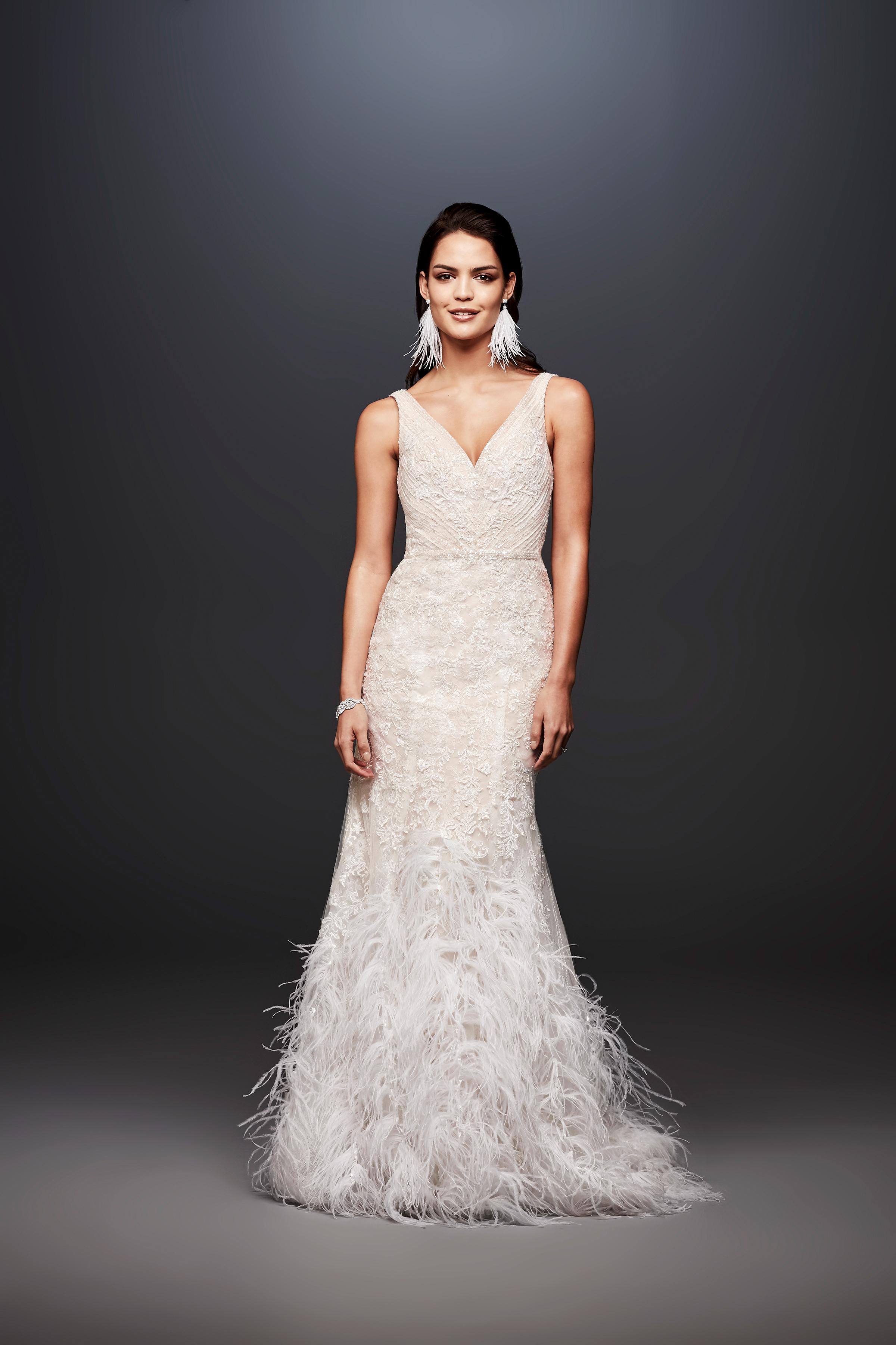 david bridal wedding dress spring 2019 v-neck feathers sleeveless